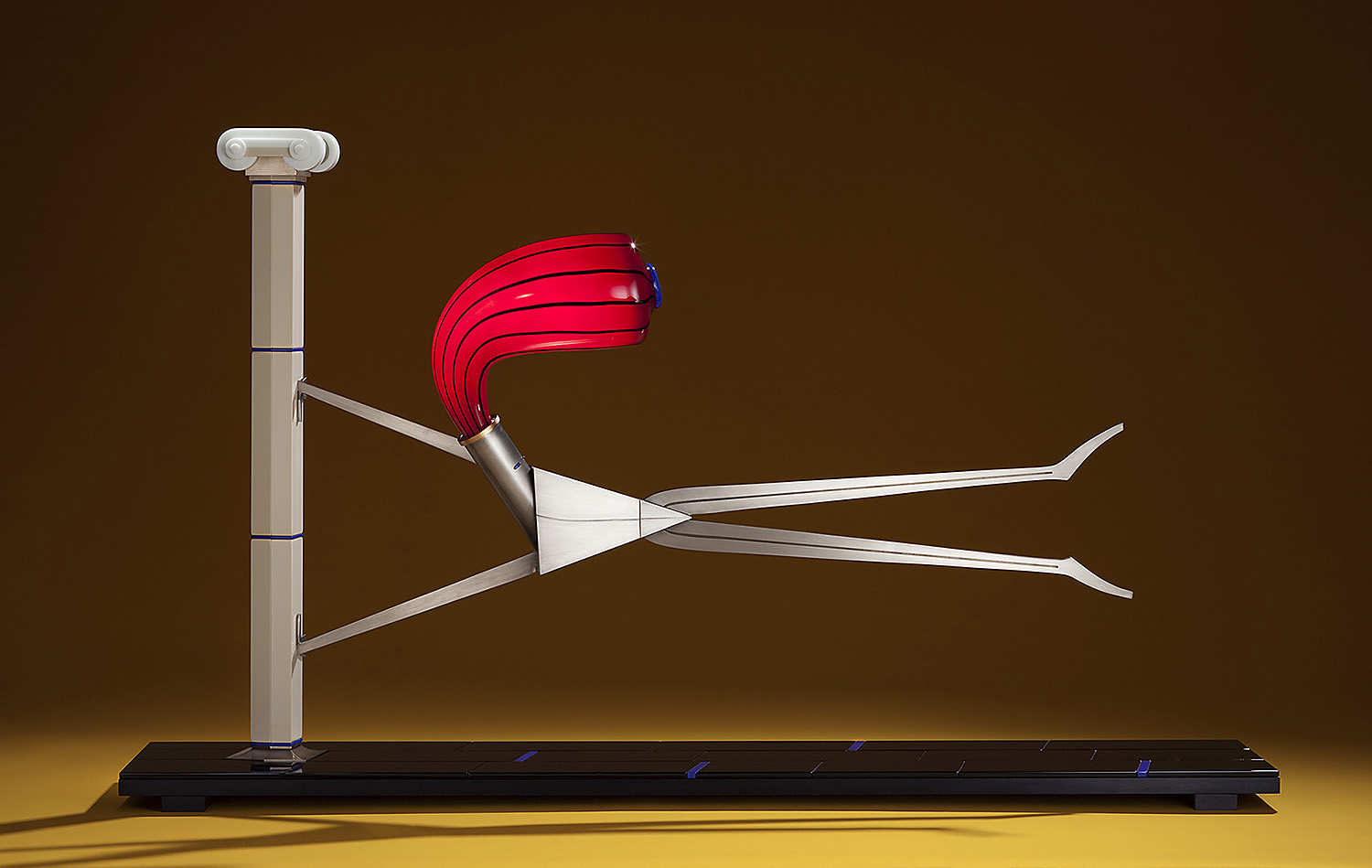 """Wind   2010. Blown glass, nickel and gold-plated bronze, aluminum, Vitrolite and lampworked glass. 32½ x 54½ x 12"""""""