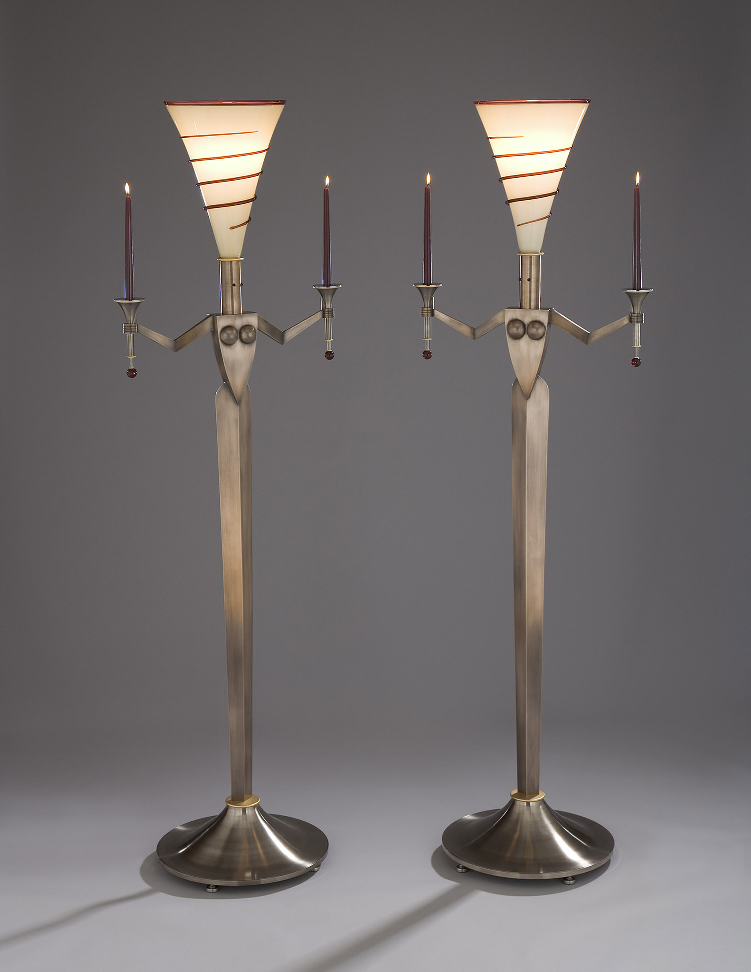 Standing Candelabrums   2008. Blown glass, gold-plated bronze, bronze, Vitrolite and lampworked glass.