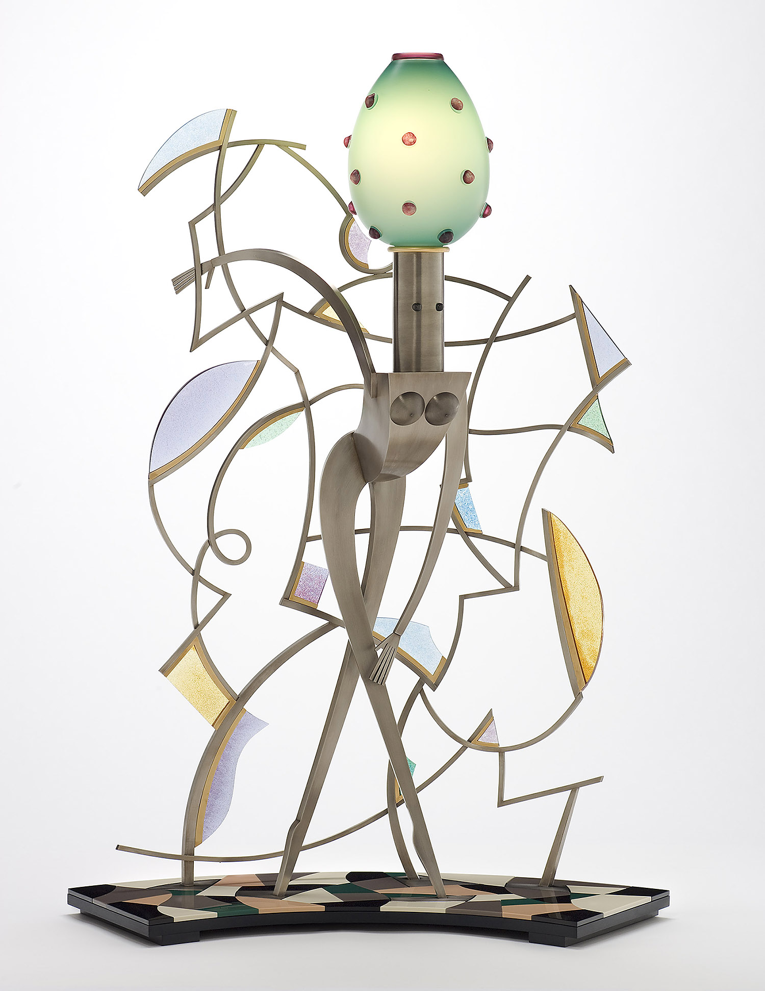 """Somewhere   2007. Blown glass, nickel and gold-plated bronze, aluminum, Vitrolite and lampworked glass. 39 x 29 x 13½"""""""