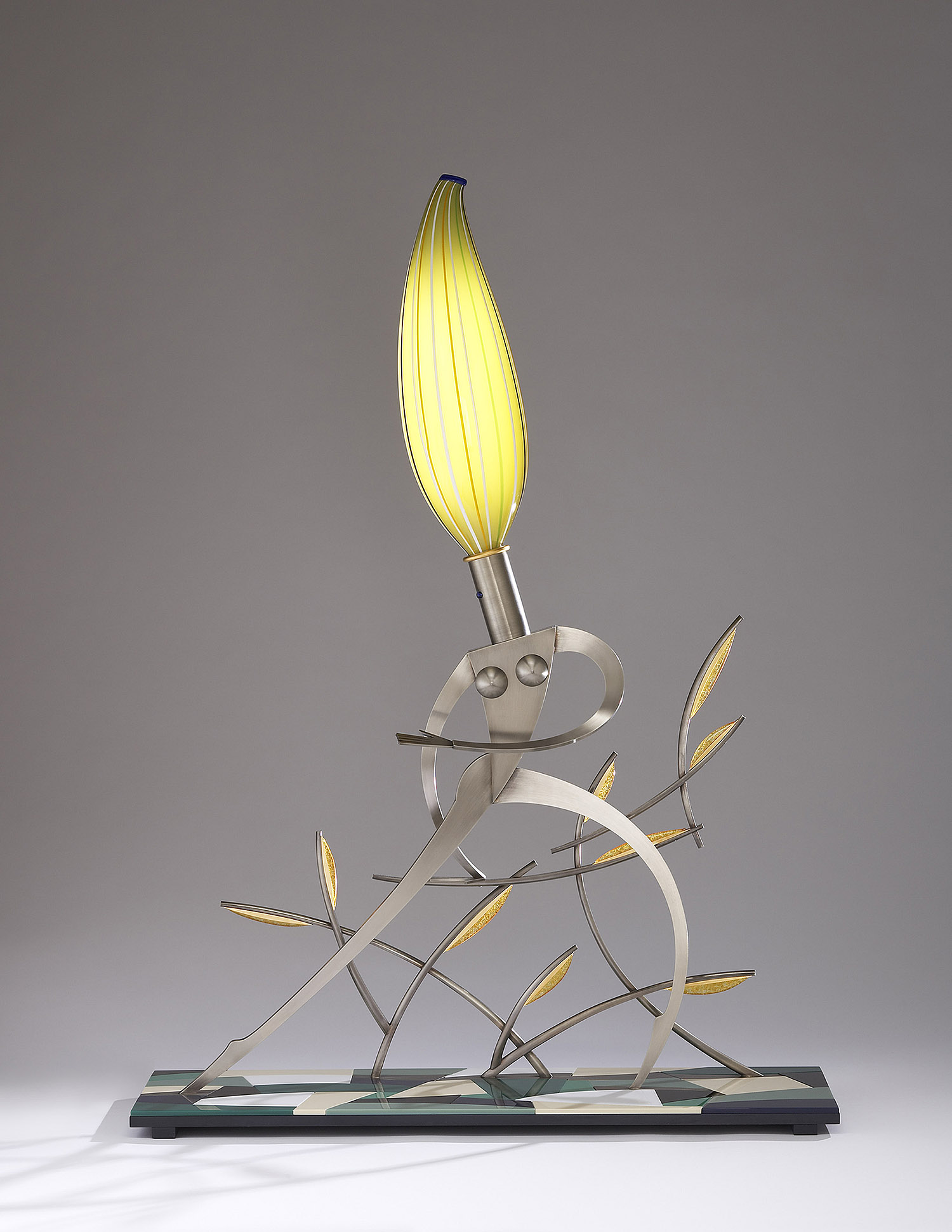 """Nude Looking Back   2007. Blown glass, nickel and gold-plated bronze, aluminum, Vitrolite and lampworked glass. 44 x 32 x 11"""""""