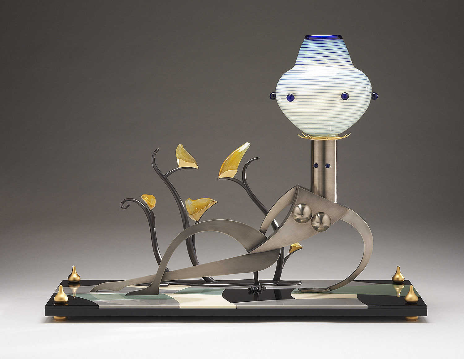 """Nude with a Blooming Plant   2007. Blown glass, nickel and gold-plated bronze, aluminum, Vitrolite and lampworked glass. 20½ x 27 x 10"""""""