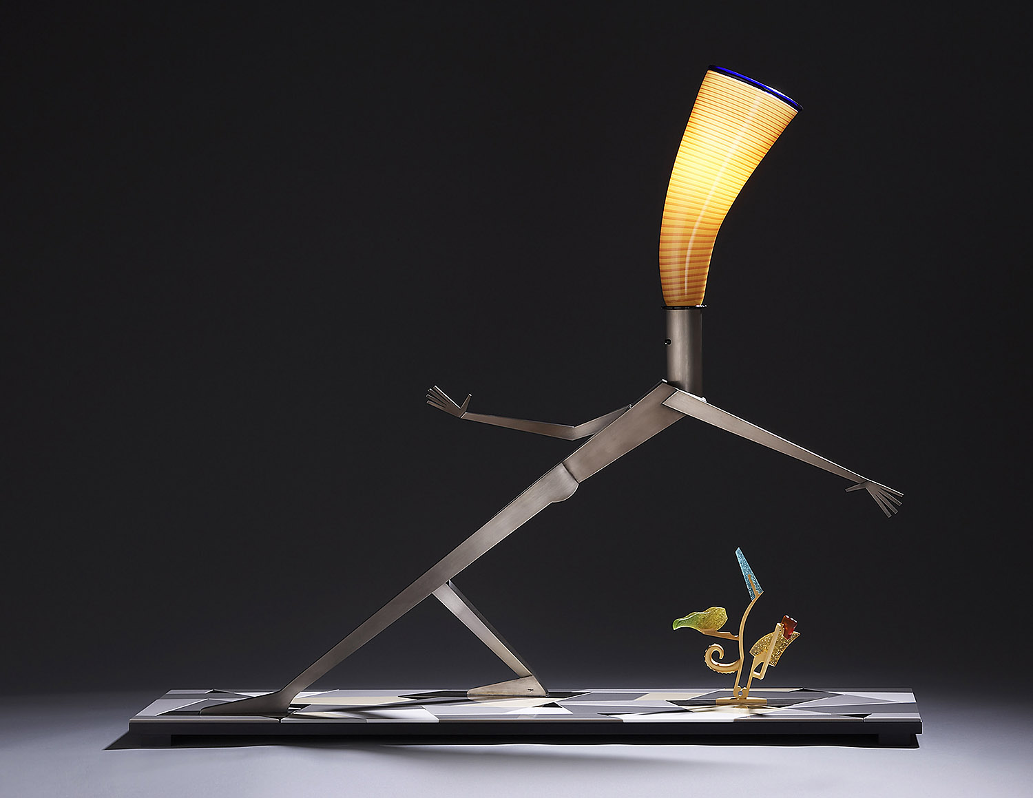 """Stymied   2006. Blown glass, nickel and gold-plated bronze, aluminum, Vitrolite and lampworked glass. 42½ x 51 x 14"""""""