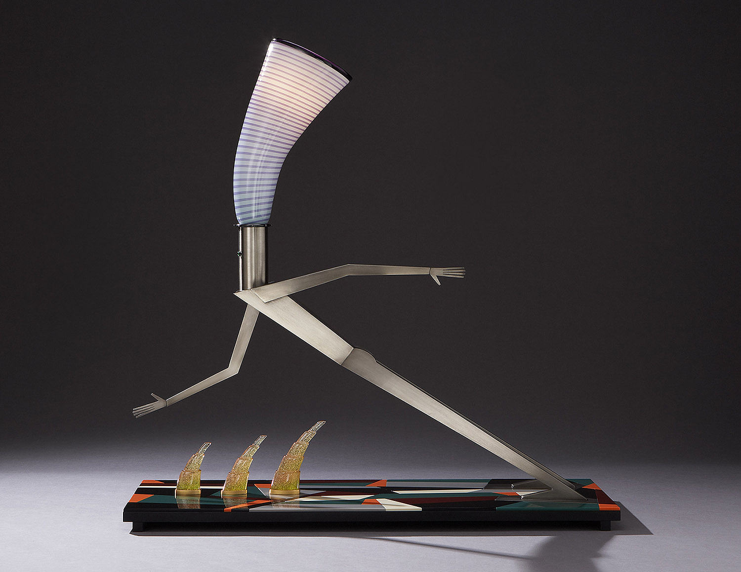 """Reach   2006. Blown glass, nickel and gold-plated bronze, aluminum, Vitrolite and lampworked glass. 38 x 38½ x 13"""""""