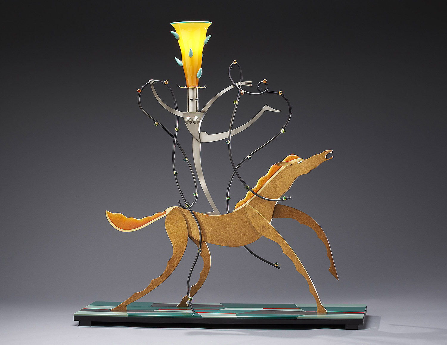 """Nude on a Horse   2005. Blown glass, nickel and gold-plated bronze, aluminum, Vitrolite and lampworked glass. 46½ x 42 x 12"""""""