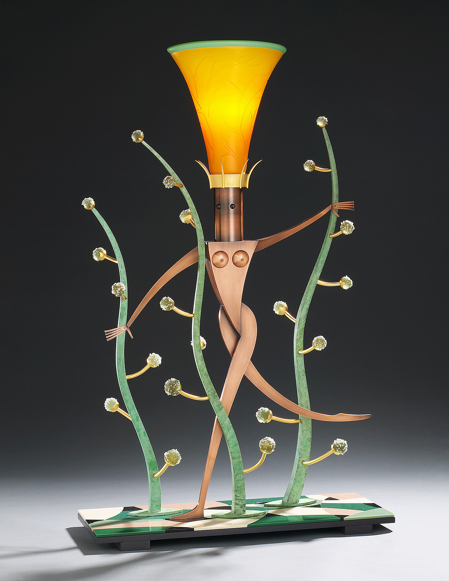 """Nude in a Dream   2004. Blown glass, copper, nickel and gold-plated bronze, aluminum, Vitrolite and lampworked glass. 42½ x 27½ x 10½"""""""