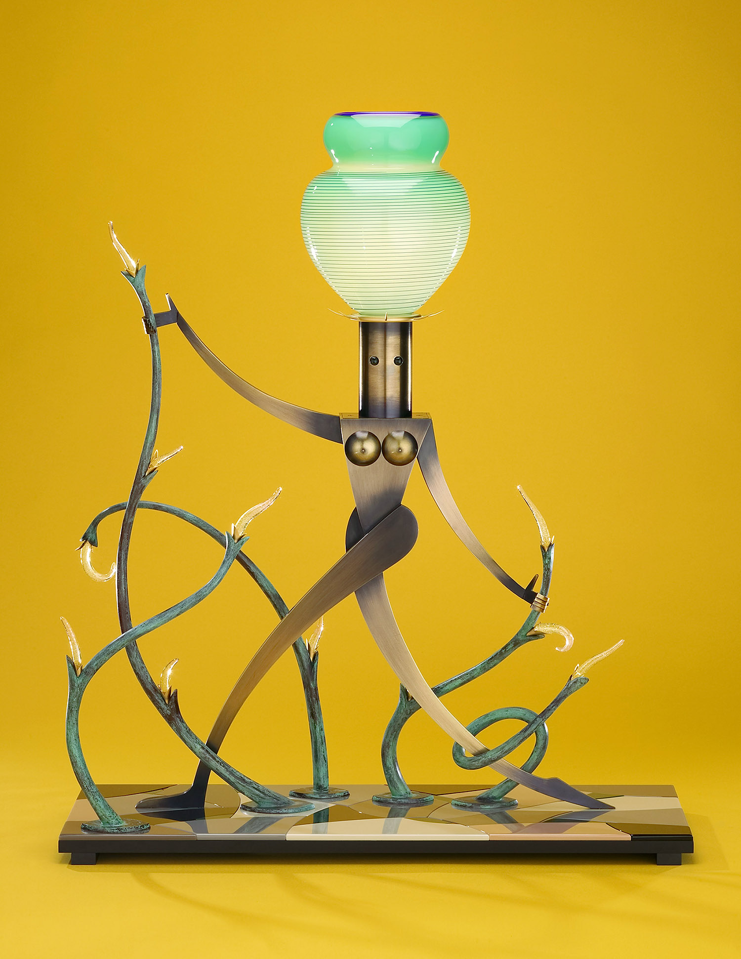 """Nude in Lush Vines   2003. Blown glass, copper gold-plated brass, aluminum, Vitrolite and lampworked glass.33 x 26 x 9"""""""