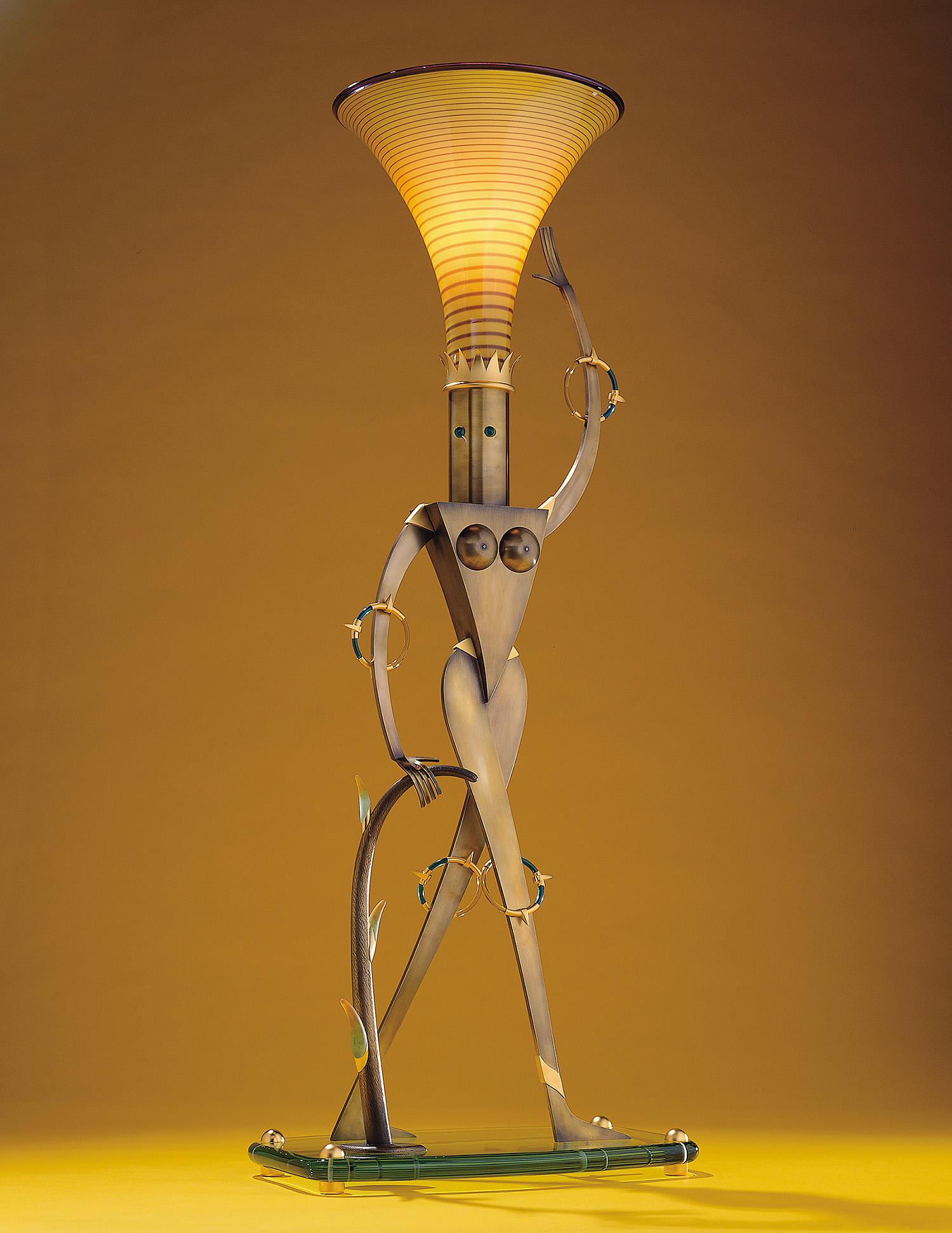 "Statuesque   1999. Blown glass, brass, gold-plated brass, aluminum, plate glass, Vitrolite and lampworked glass.42 x 17 x 11"""