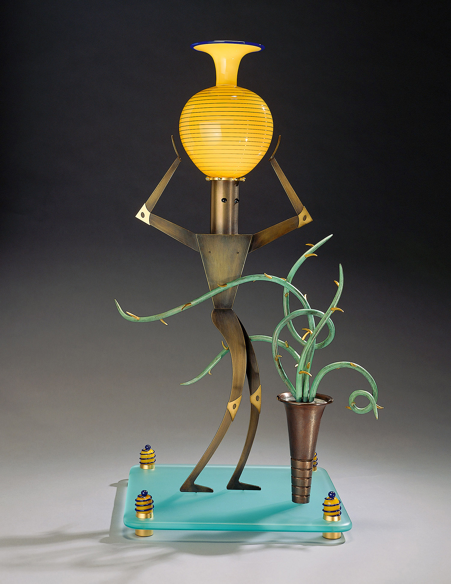 """Nude Male with Cactus   1995. Blown glass, bronze, gold-plated bronze, and lampworked glass. 20½ x 26 x 9"""""""