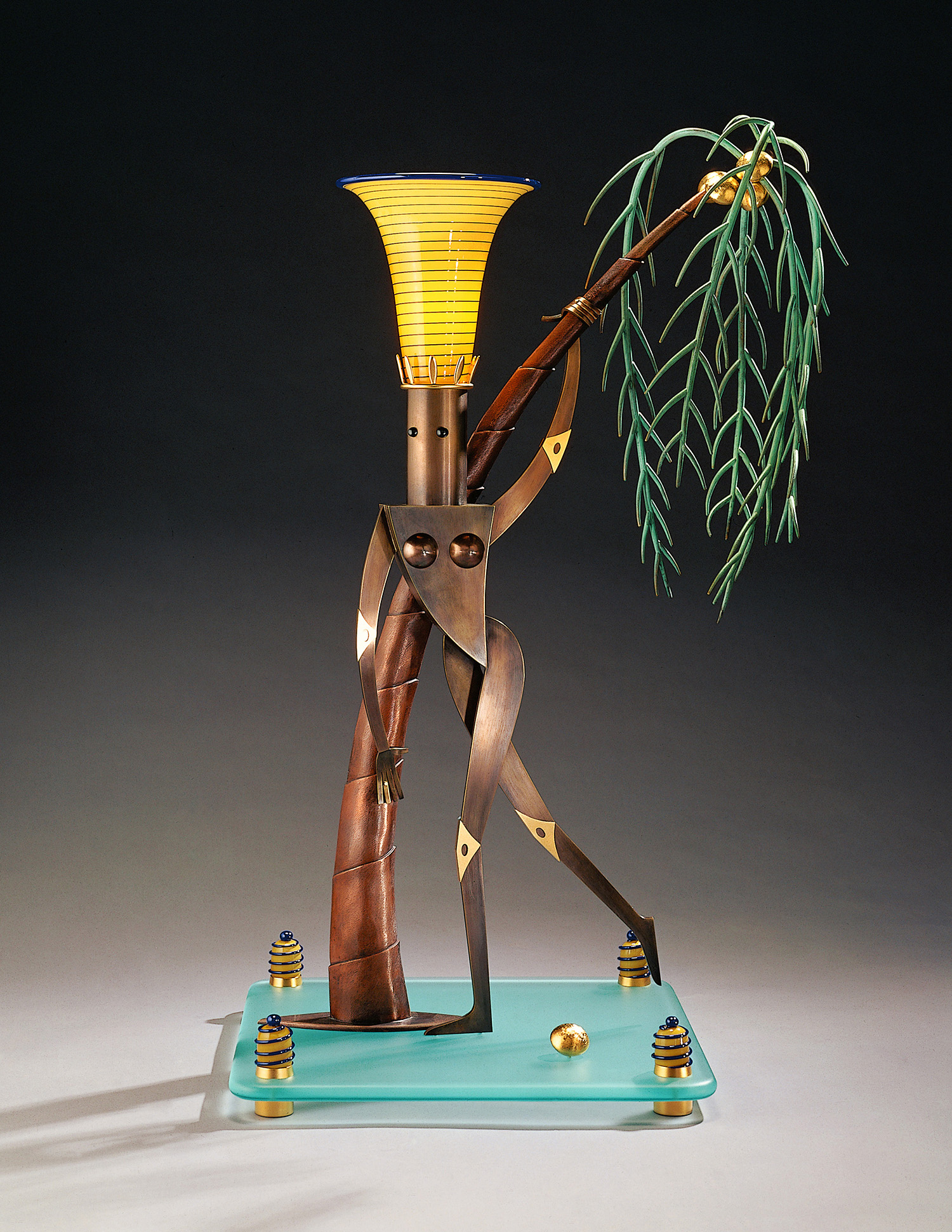 """Nude Female with Palm Tree   1995. Blown glass, bronze, gold-plated bronze, aluminum, plate glass, and lampworked glass. 44 x 19 x 19"""""""