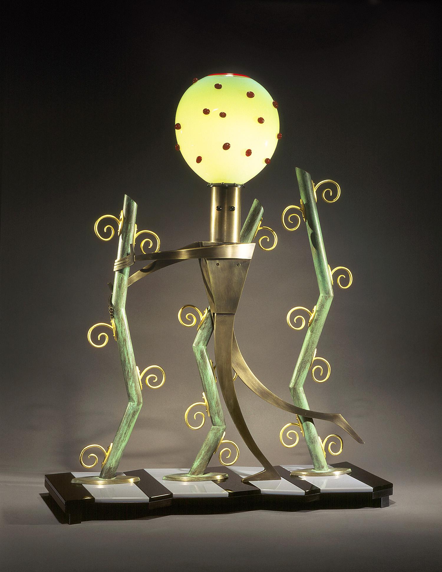 "Jazz Jungle   1995. Blown glass, bronze, gold-plated bronze, Vitrolite and lampworked glass. 32 x 24 x 9"""