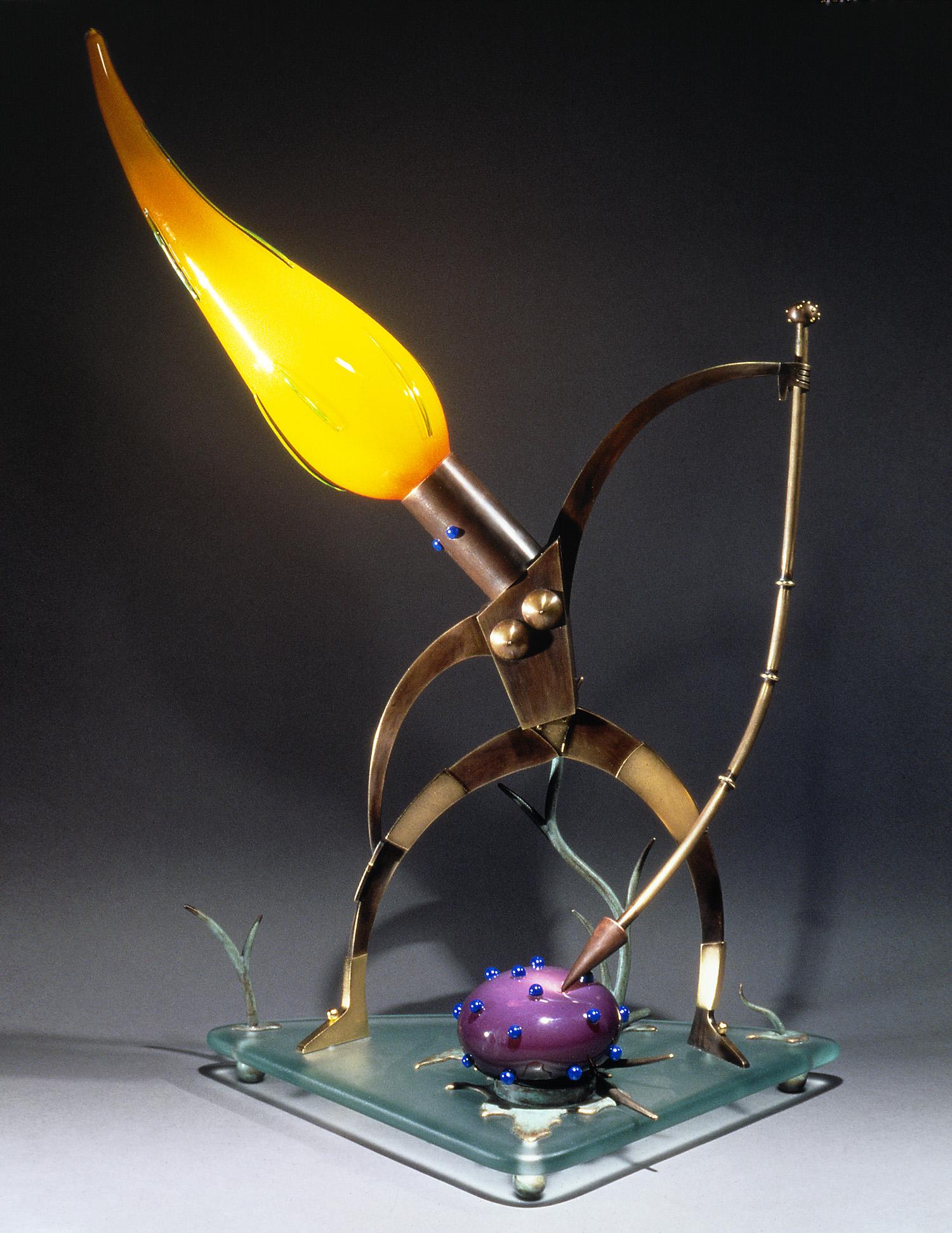 """Huntress   1993. Blown glass, bronze, gold-plated bronze, plate glass. 34 x 24 x 15"""""""