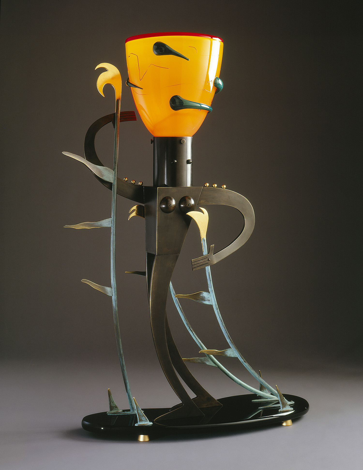"""Blowing in the Wind   1992. Blown glass, bronze, gold-plated bronze, Vitrolite and lampworked glass. 33½ x 20½ x 8"""""""