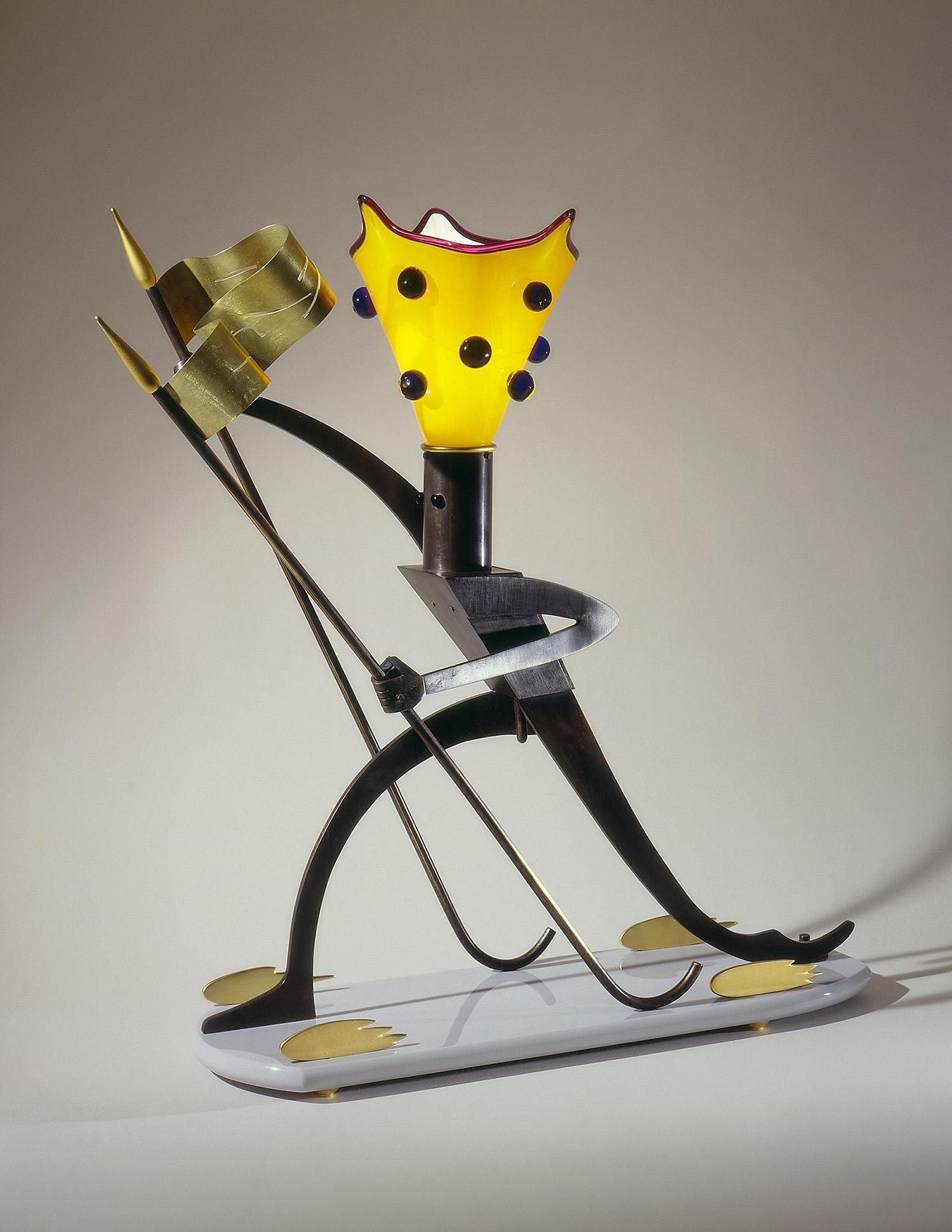 "Messenger   1991. Blown glass, bronze, gold-plated bronze, Vitrolite and lampworked glass. 24¼ x 16½ x 9"""