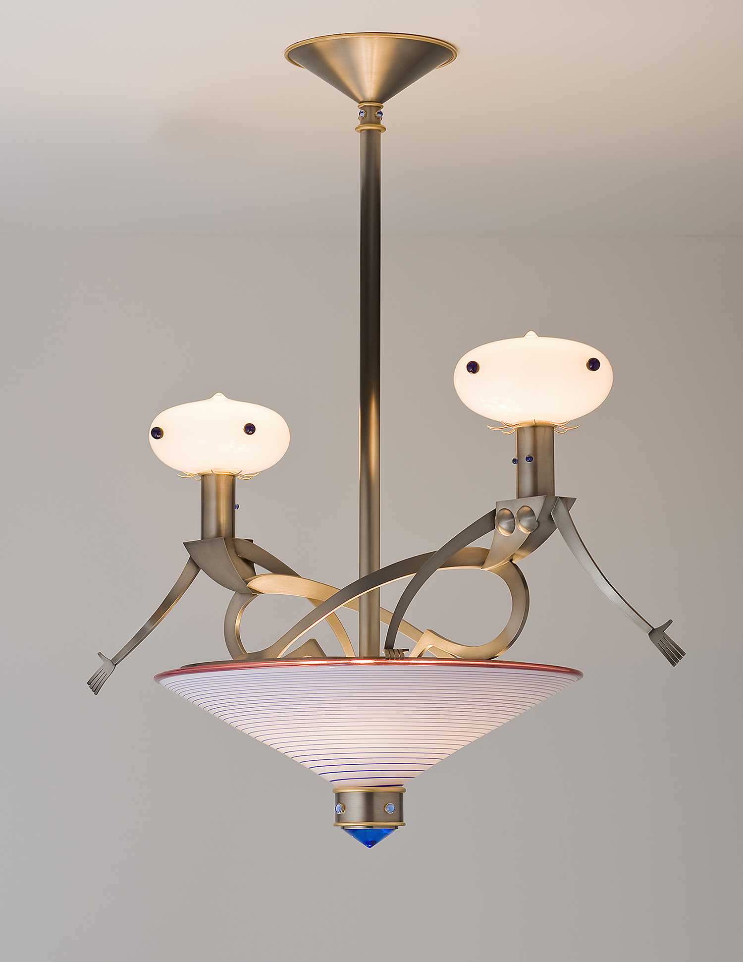 """Figurative Chandelier   2007. Blown glass, nickel and gold-plated bronze, brass, aluminum, steel and lampworked glass. 32 x 35 x 21"""""""