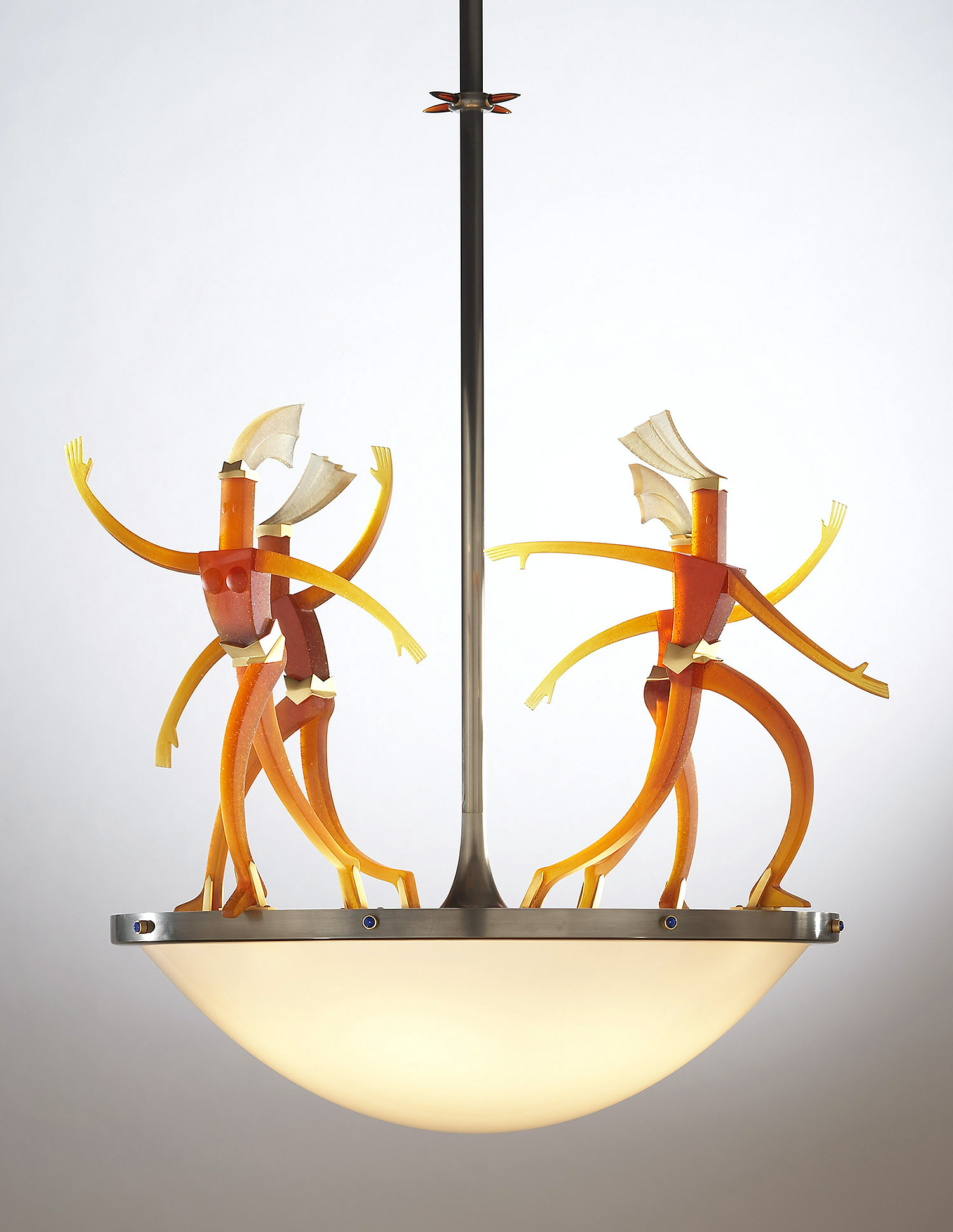 """Light Ballet   2006. Blown glass, nickel and gold-plated bronze, brass, aluminum, steel, pate de verre and lampworked glass. 28½ x 32½ x 28"""""""
