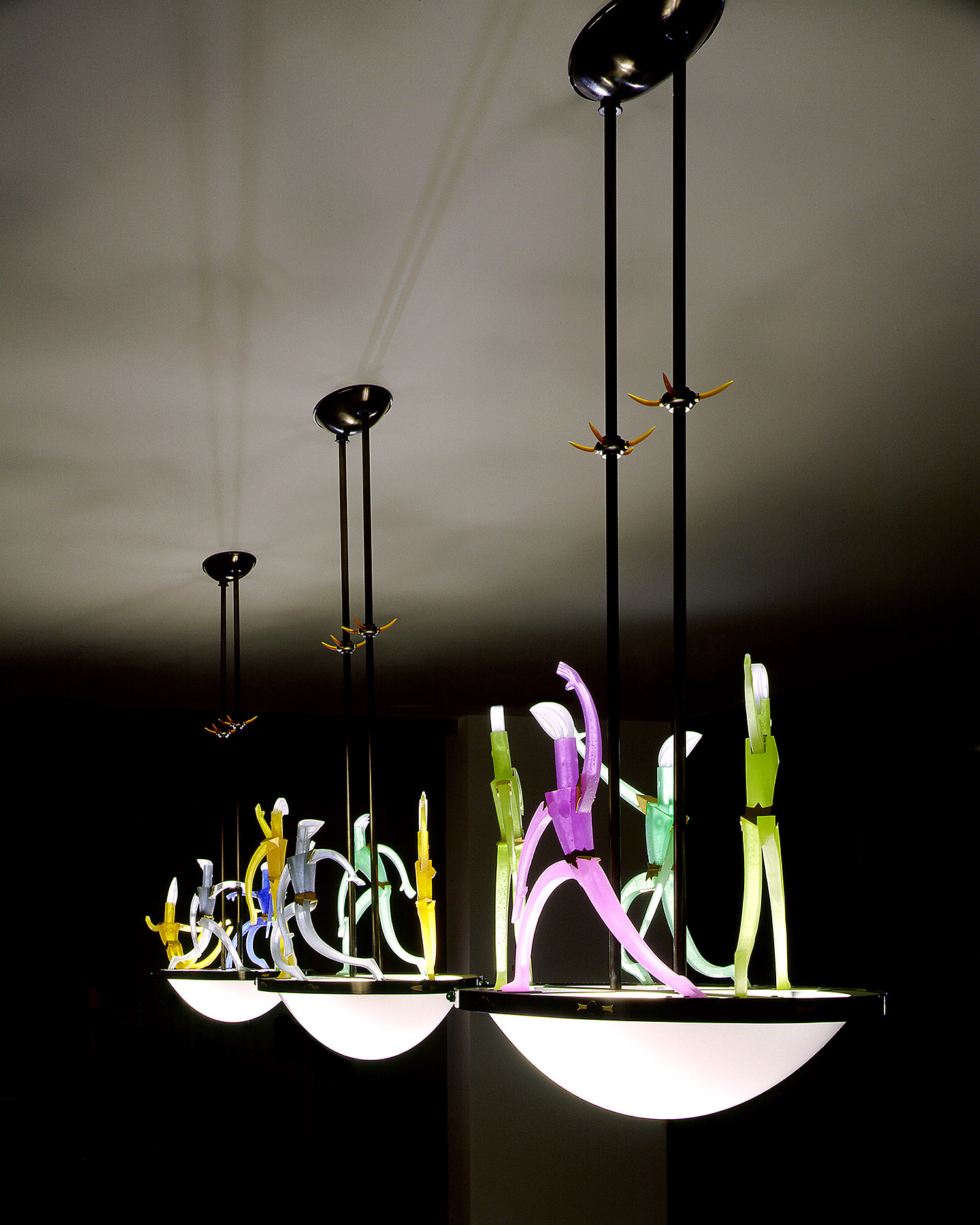 """Dance of Light   1999. Blown glass, nickel and gold-plated bronze, brass, aluminum, steel, pate de verre and lampworked glass. 19 x 38½ x 20½"""" each"""