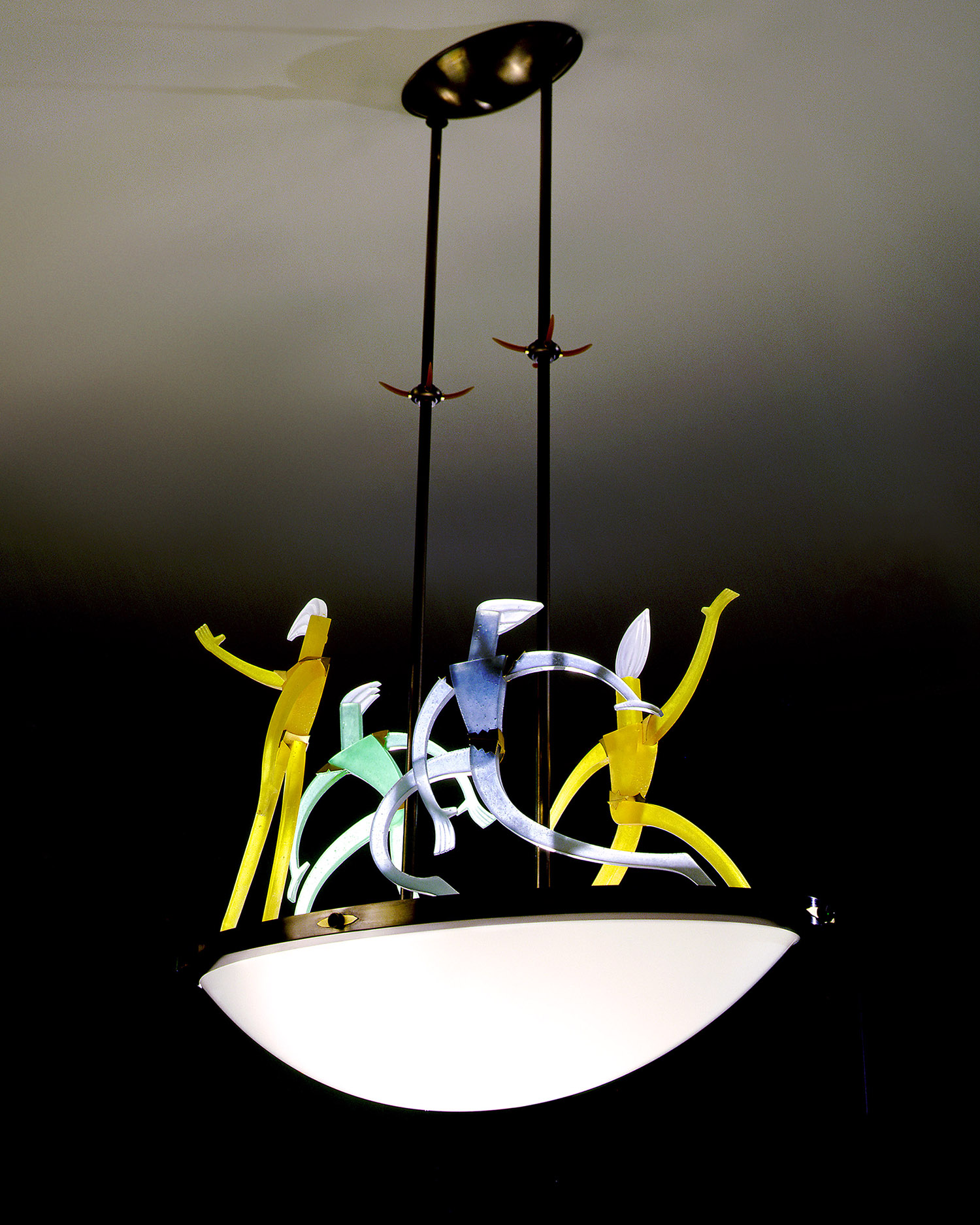 """Dance of Light   1999. Blown glass, nickel and gold-plated bronze, brass, aluminum, steel, pate de verre and lampworked glass. 19 x 38½ x 20½"""""""