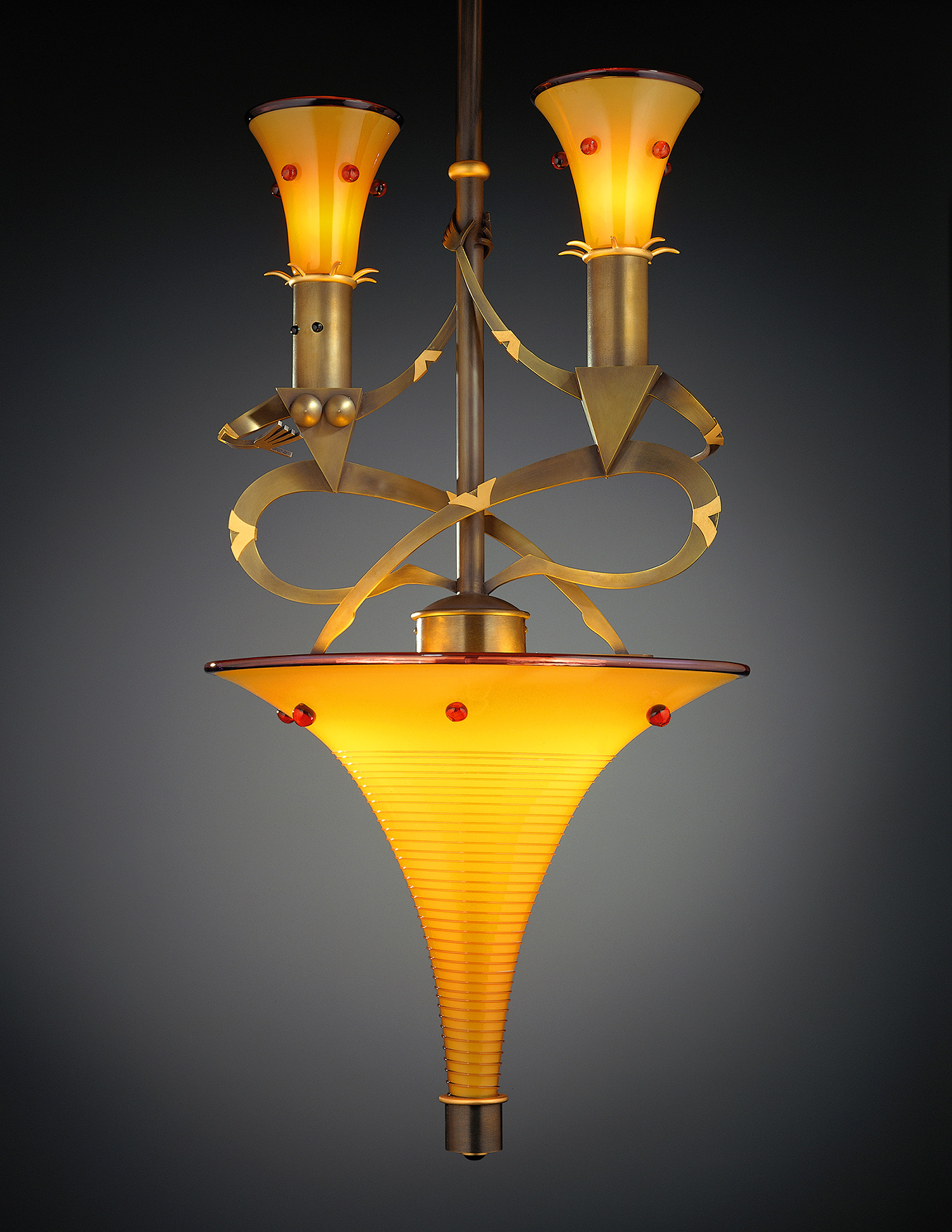 """Turning Nudes   1998. Blown glass, gold-plated bronze, bronze and lampworked glass. 29½ x 15 x 15"""""""