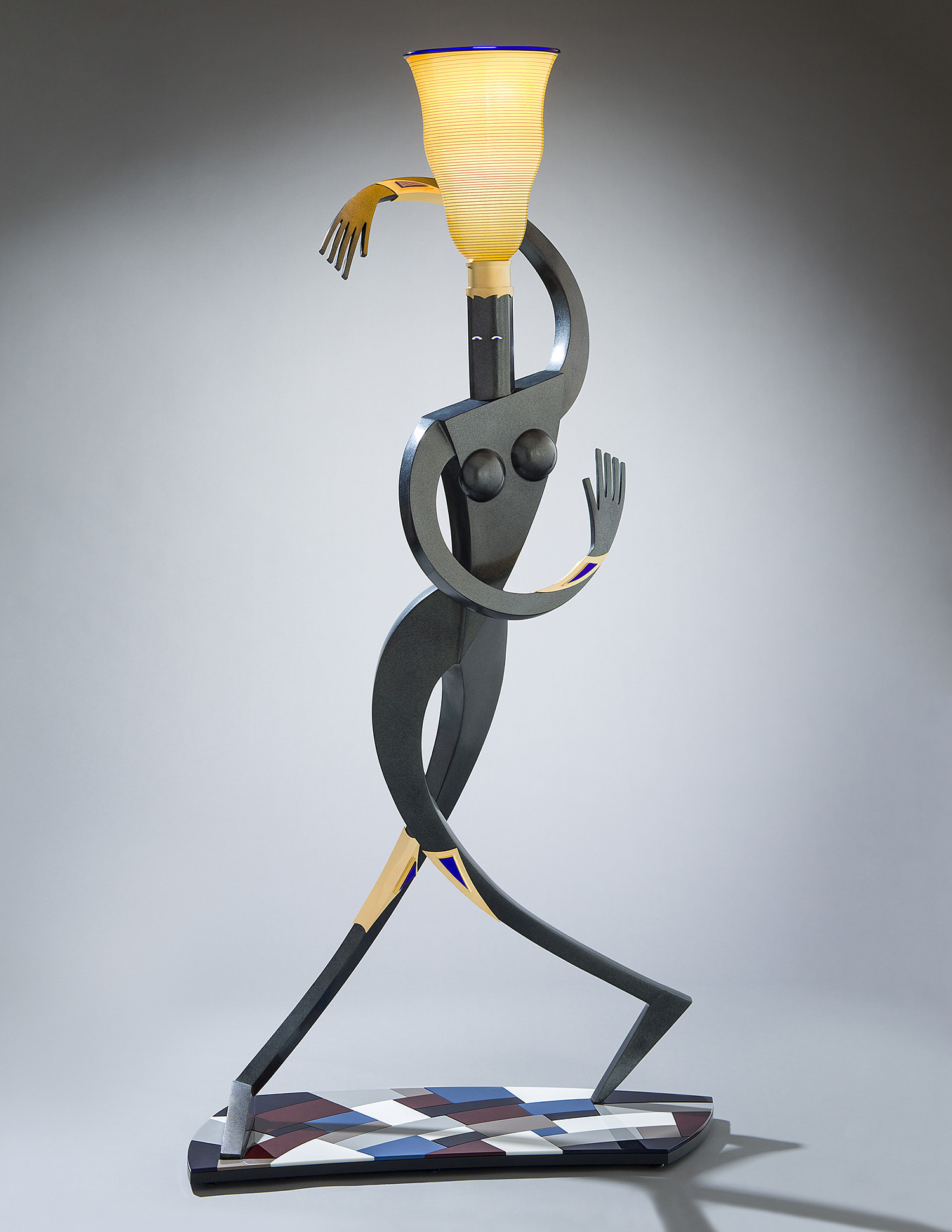 Swiveler   (5/6) 2010. Blown glass, cast and patinated bronze, gold-plated brass, aluminum, Vitrolite and lampworked glass.