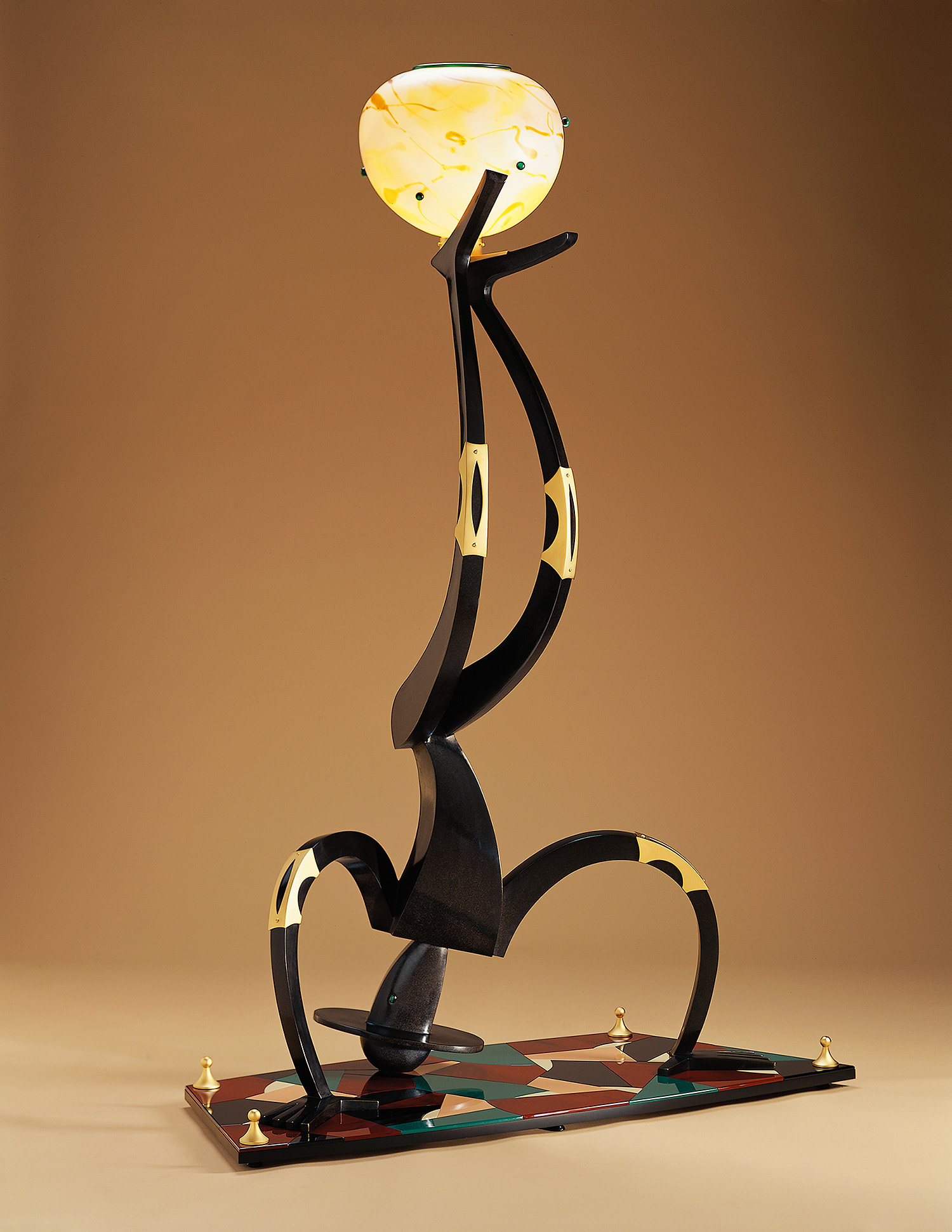 Upside Down Man   (2/6) 2002. Blown glass, cast and patinated bronze, gold-plated brass, aluminum, Vitrolite and lampworked glass. 78 x 54 x 24""