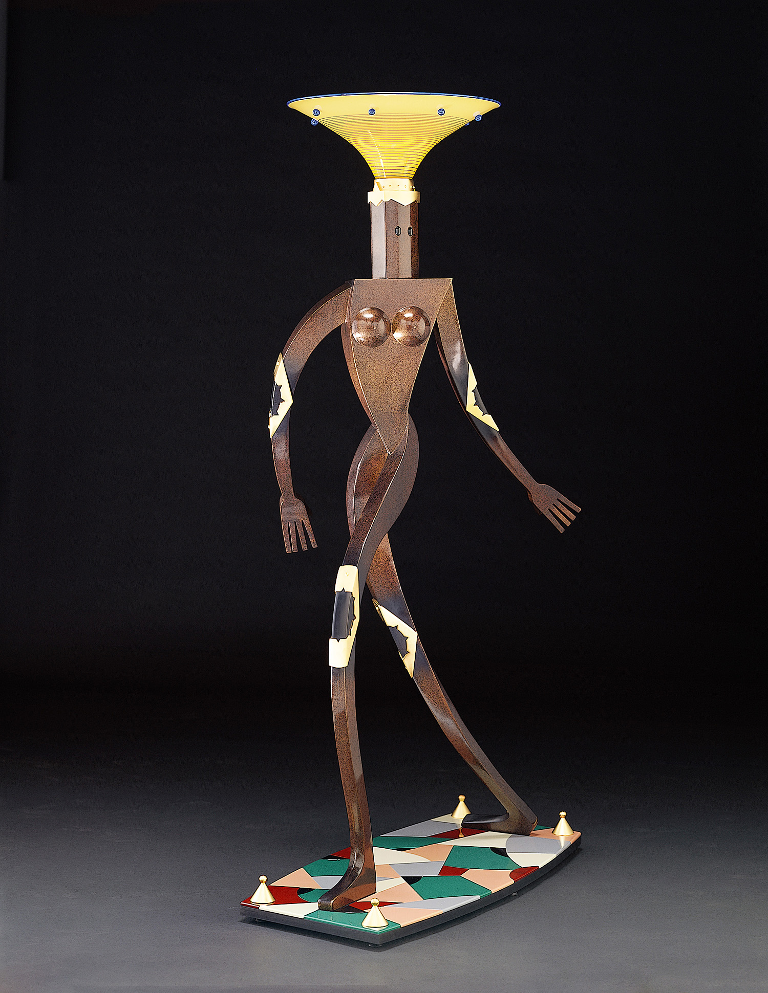Female Figure Floor Lamp   (AP) 1999. Blown glass, cast bronze, gold-plated bronze, aluminum, Vitrolite and lampworked glass. 72 x 44 x 28""