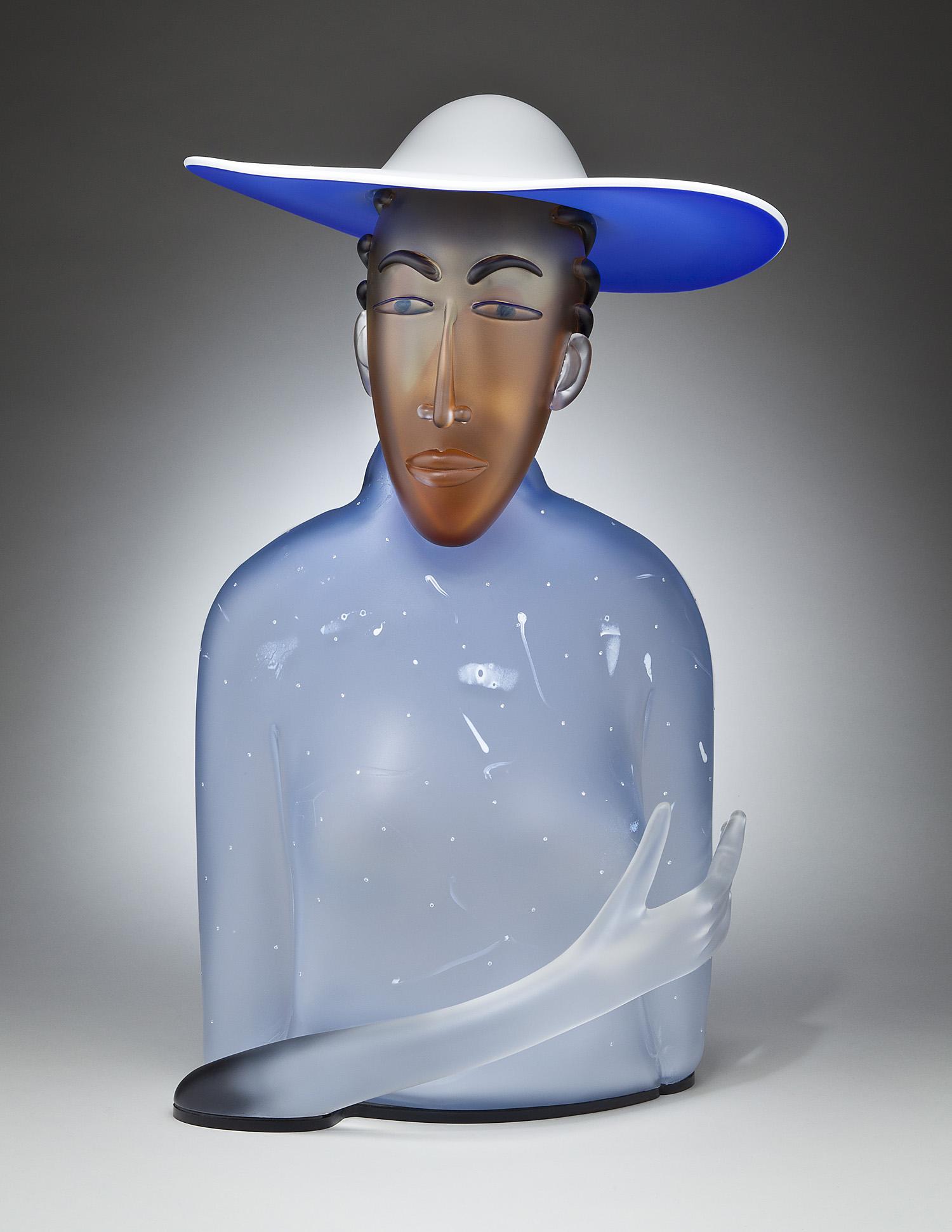 "Far Away   2012. Blown glass, cubic zirconia, aluminum. 24 x 12½ x 14"""
