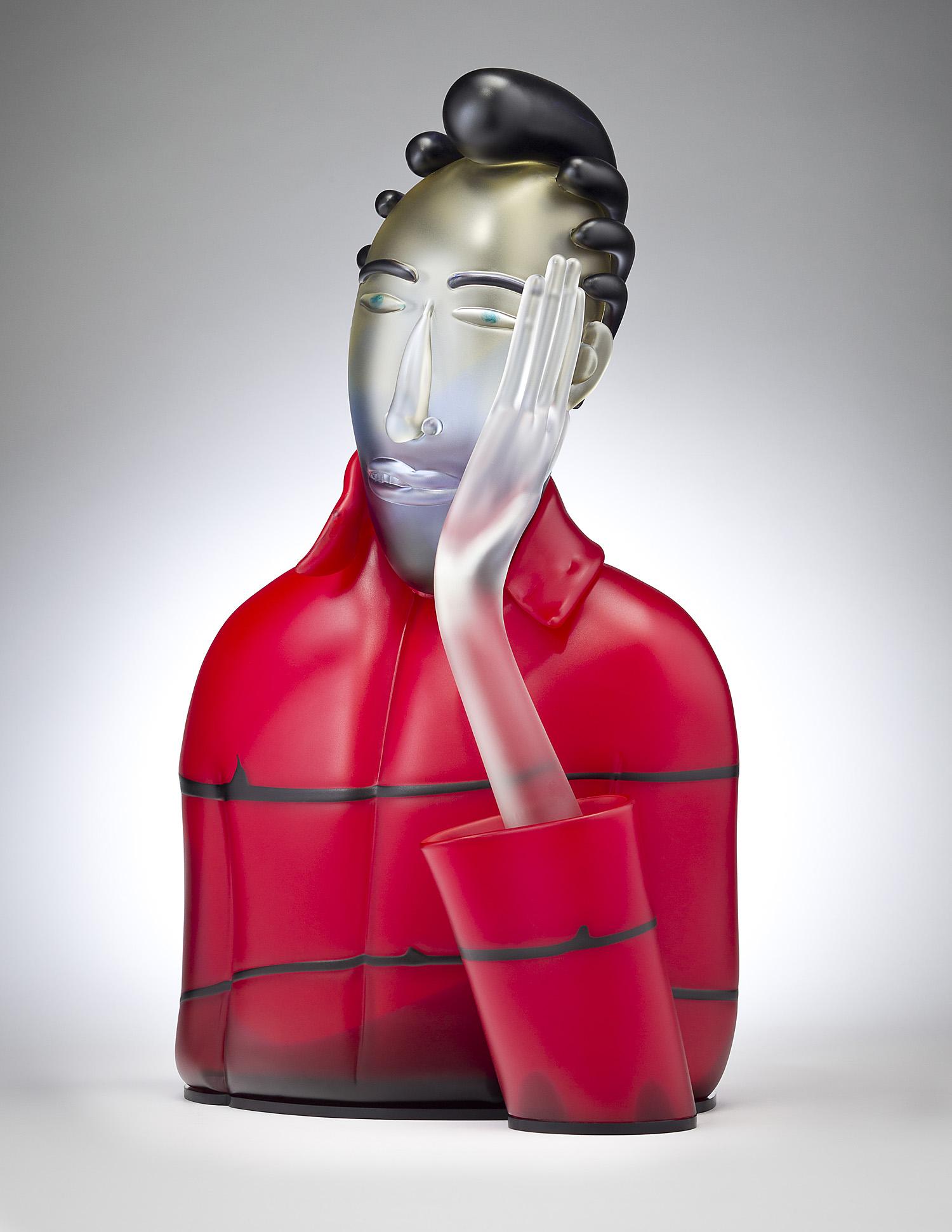 "Dubious   2011. Blown glass, aluminum. 23½ x 14¼ x 7¼"""