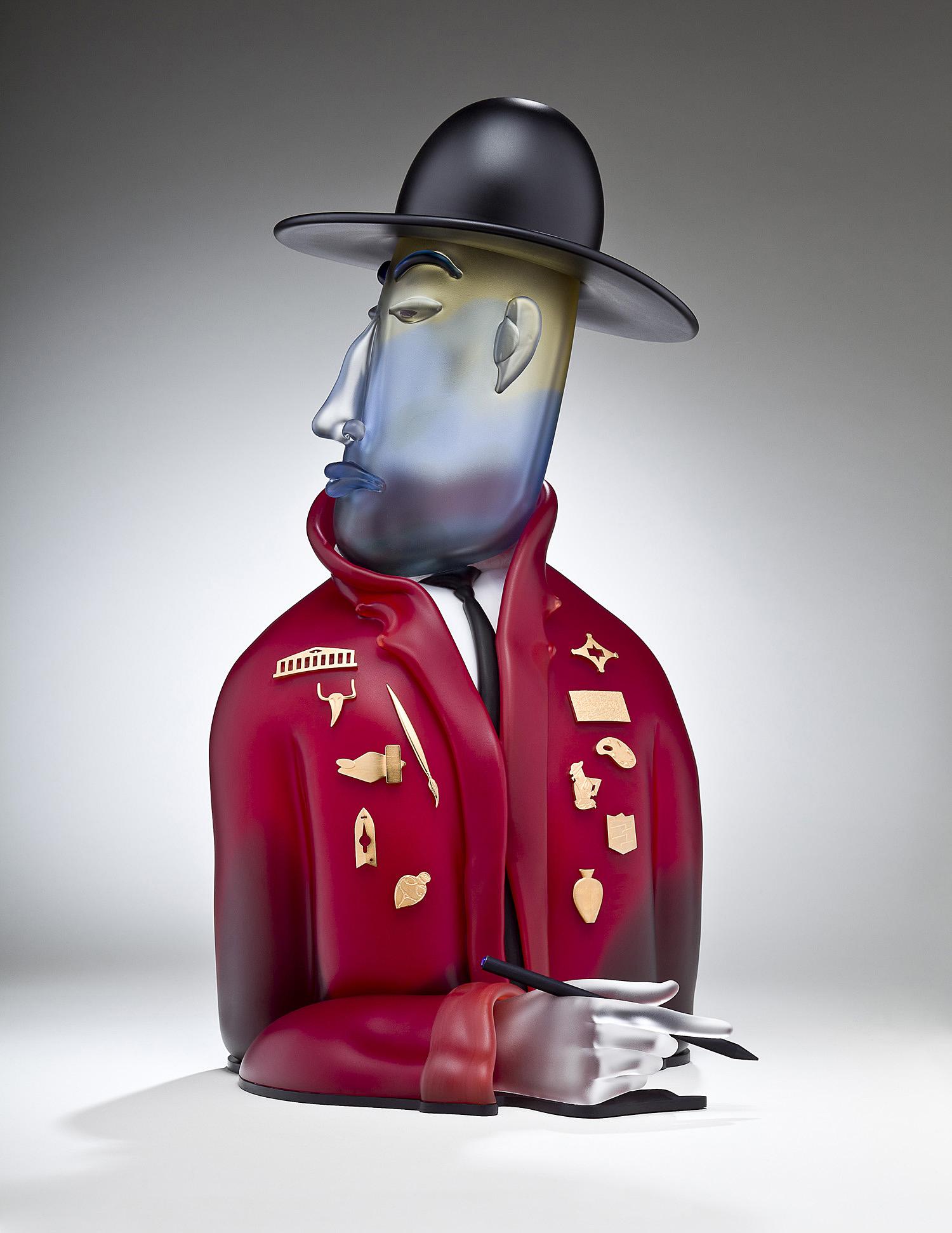 """Art Official   2011. Blown glass, gold-plated bronze, aluminum. 25½ x 14 x 12½"""""""