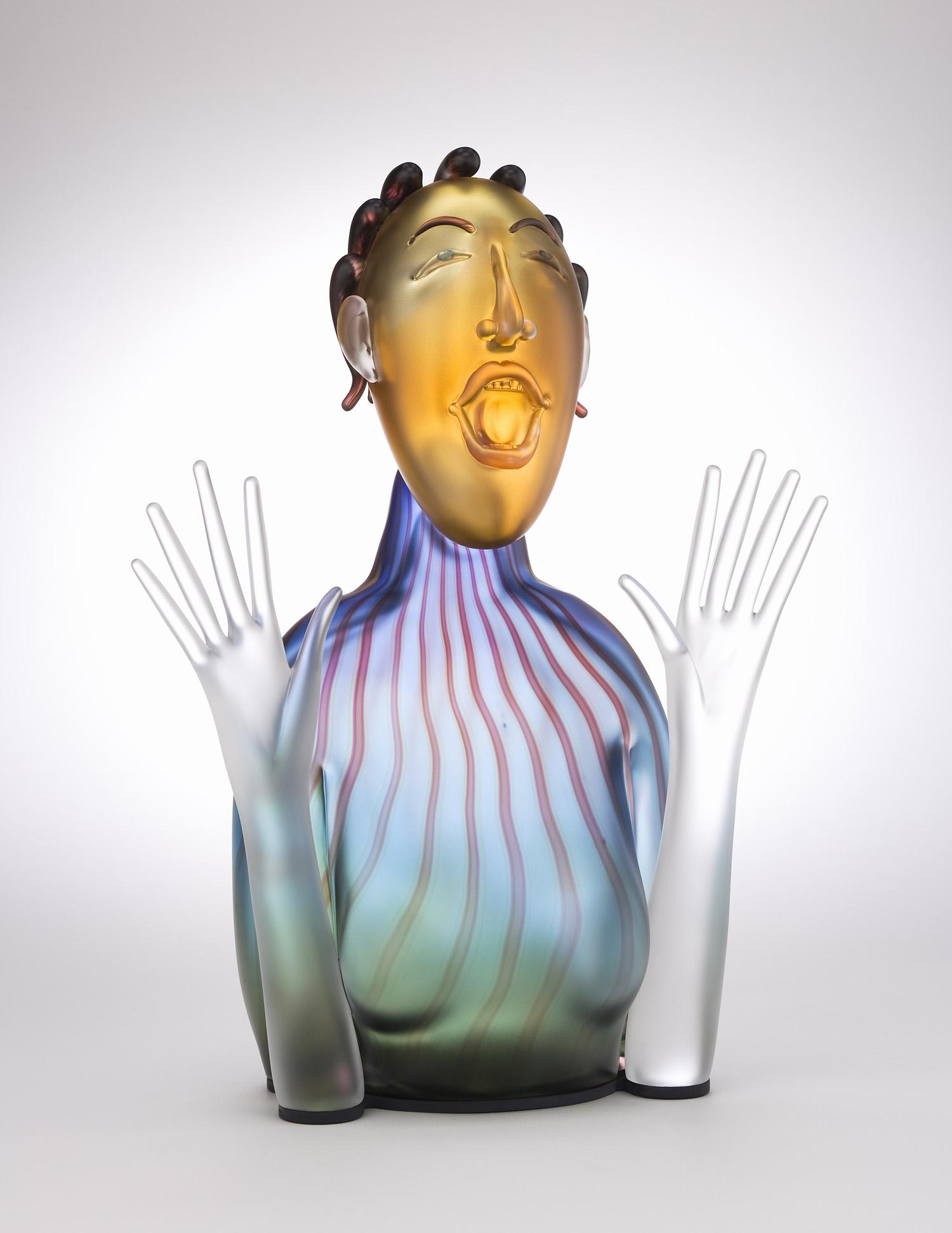 "Laughing   2008. Blown glass, aluminum. 21½ x 14 x 7½"""