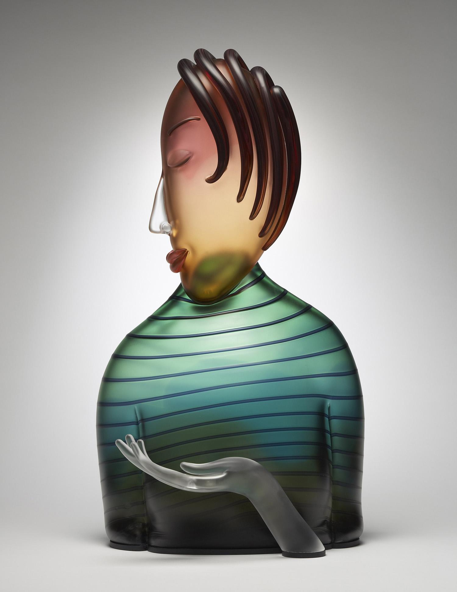 """Gift   2007. Blown glass, aluminum. 23½ x 13 x 7"""""""