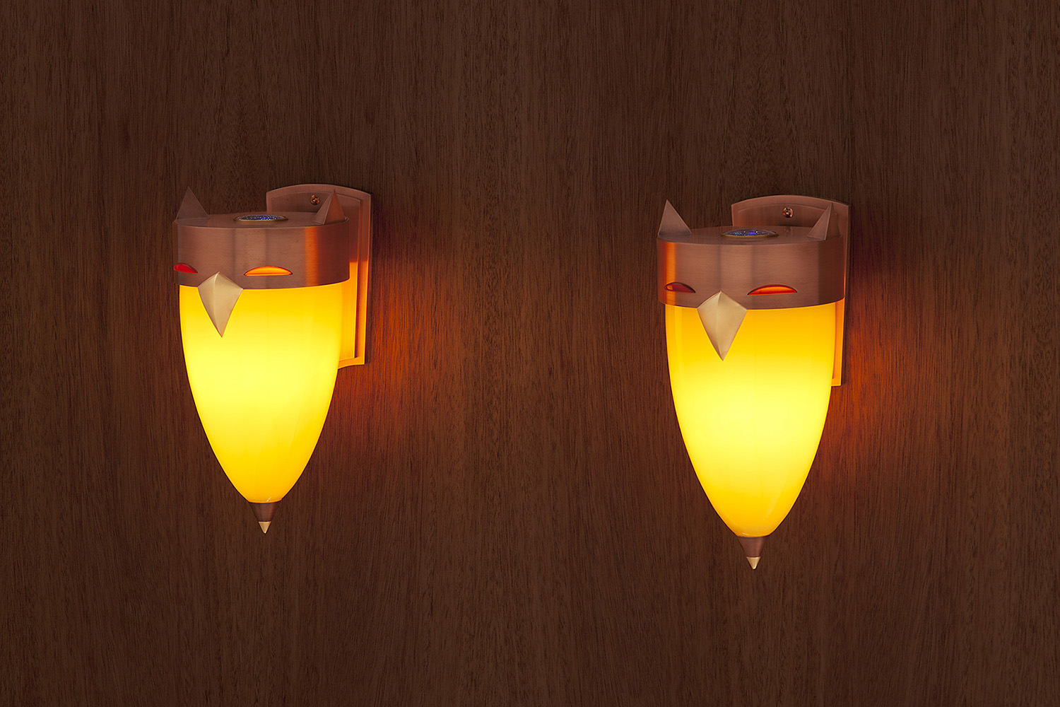 """Owl Sconces   2010. Blown glass, copper and gold-plated bronze, lampworked glass. 10½ x 7"""" each"""