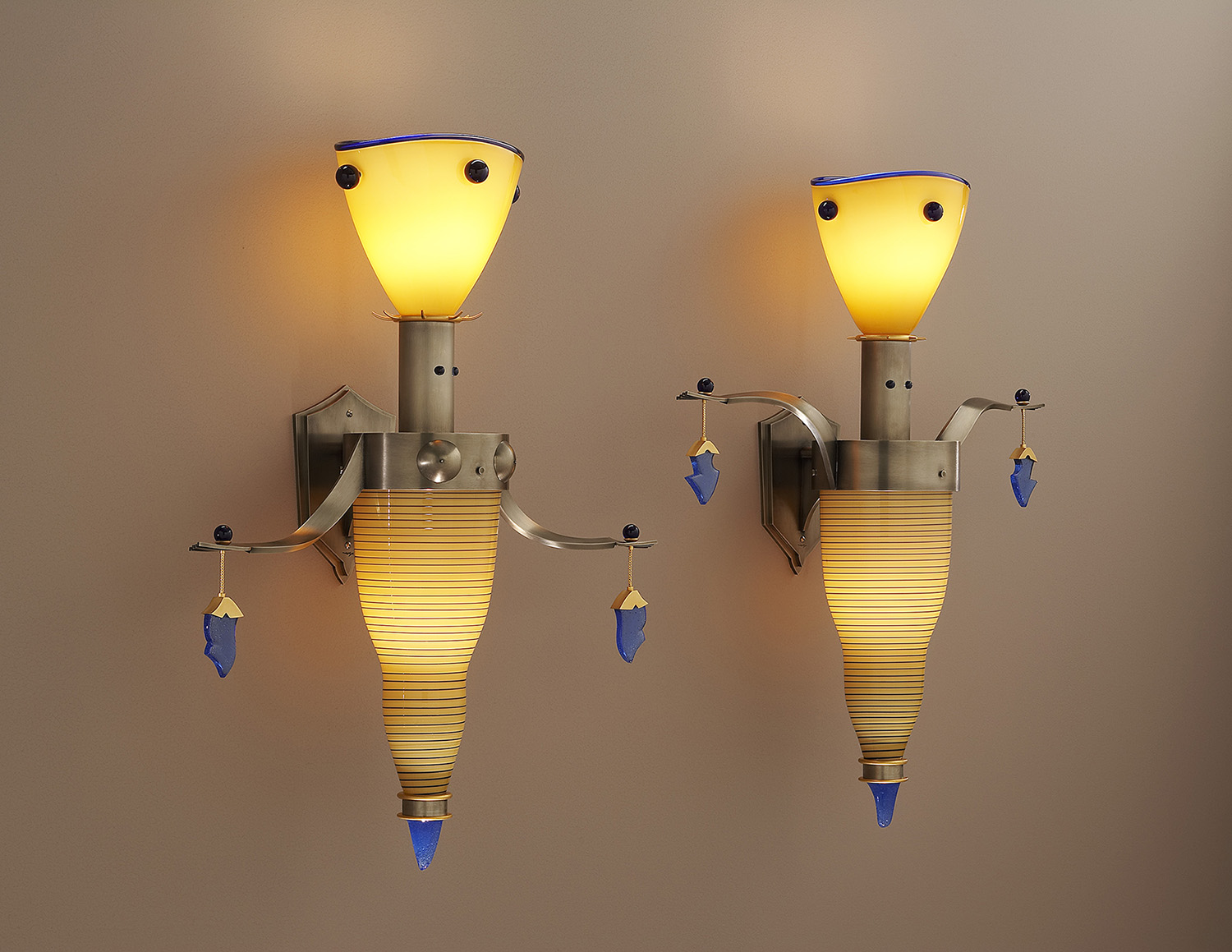 """Splendid   2006. Blown glass, nickel and gold-plated bronze, pate de verre, and lampworked glass. 26½ x 20½ x 8½"""" each"""