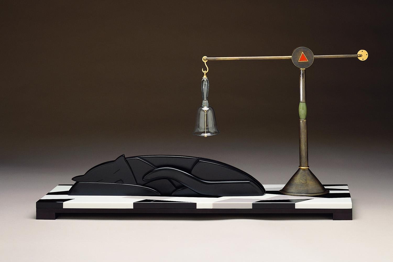 "Peace   1995. Vitrolite, blown glass, aluminum, gold-plated brass. 17 x 36 x 8½"""