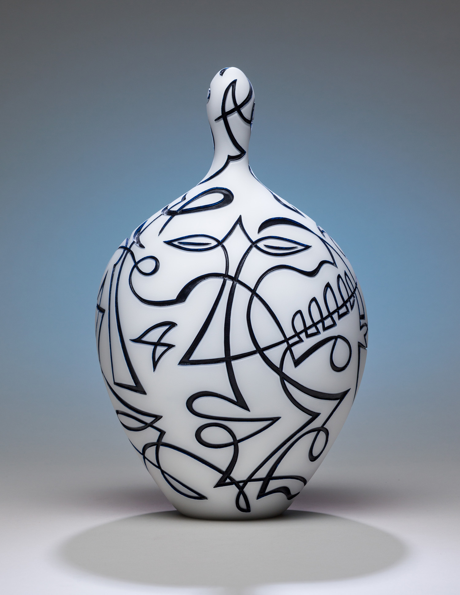 Nearness   2015. Blown glass, sandblasted and acid polished. Applied vitreous enamel. 15 x 9 x 8""