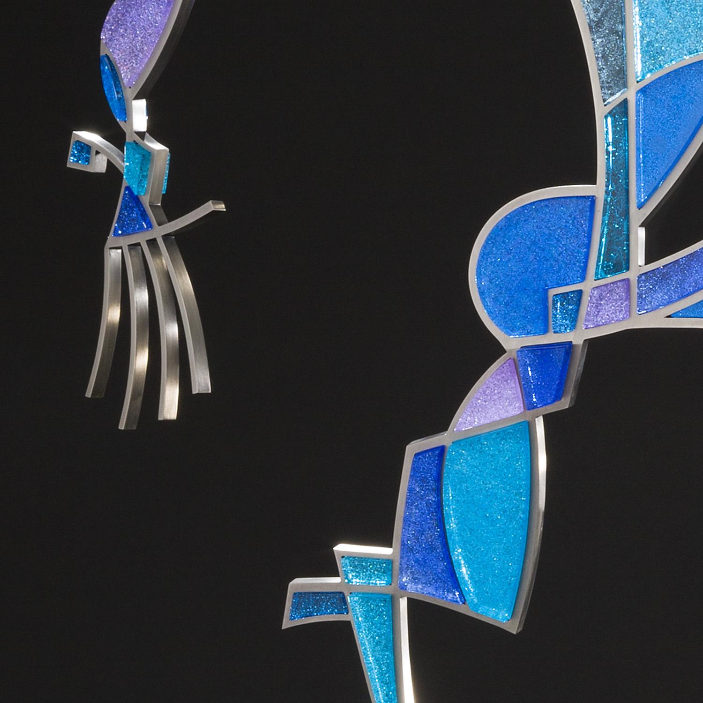 "Whistler   2012. Pate de verre and Vitrolite glass, nickel plated bronze, aluminum. 40½ x 30 x 18"""