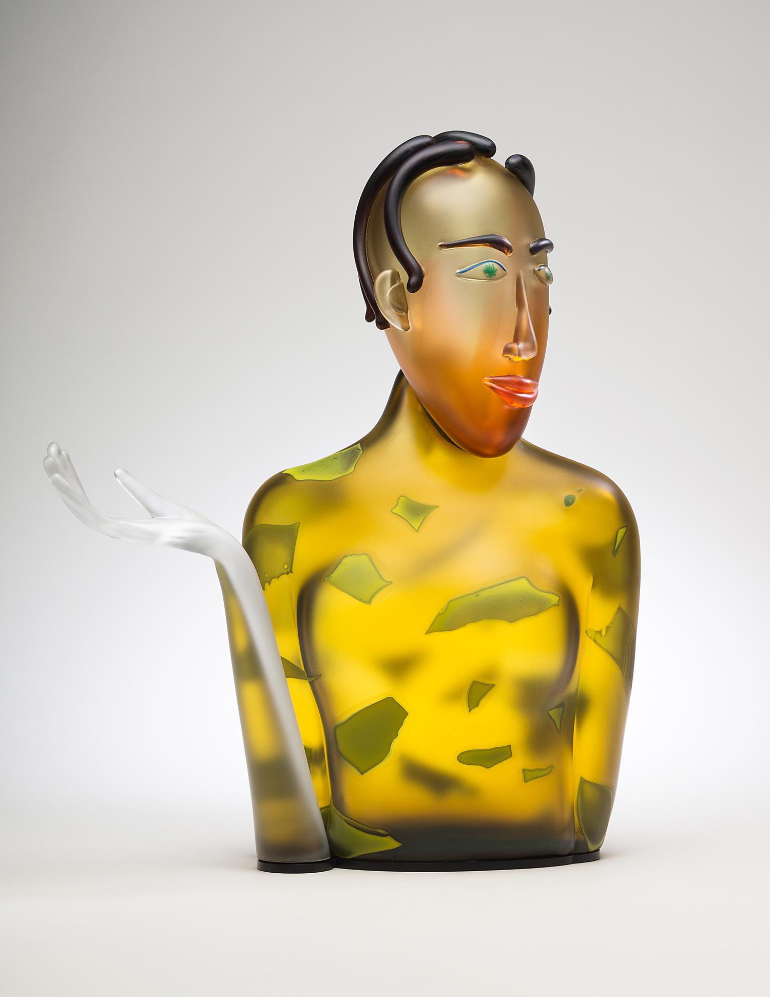"Skillion    2015. Blown glass, aluminum. 22½ x 18½ x 9"""