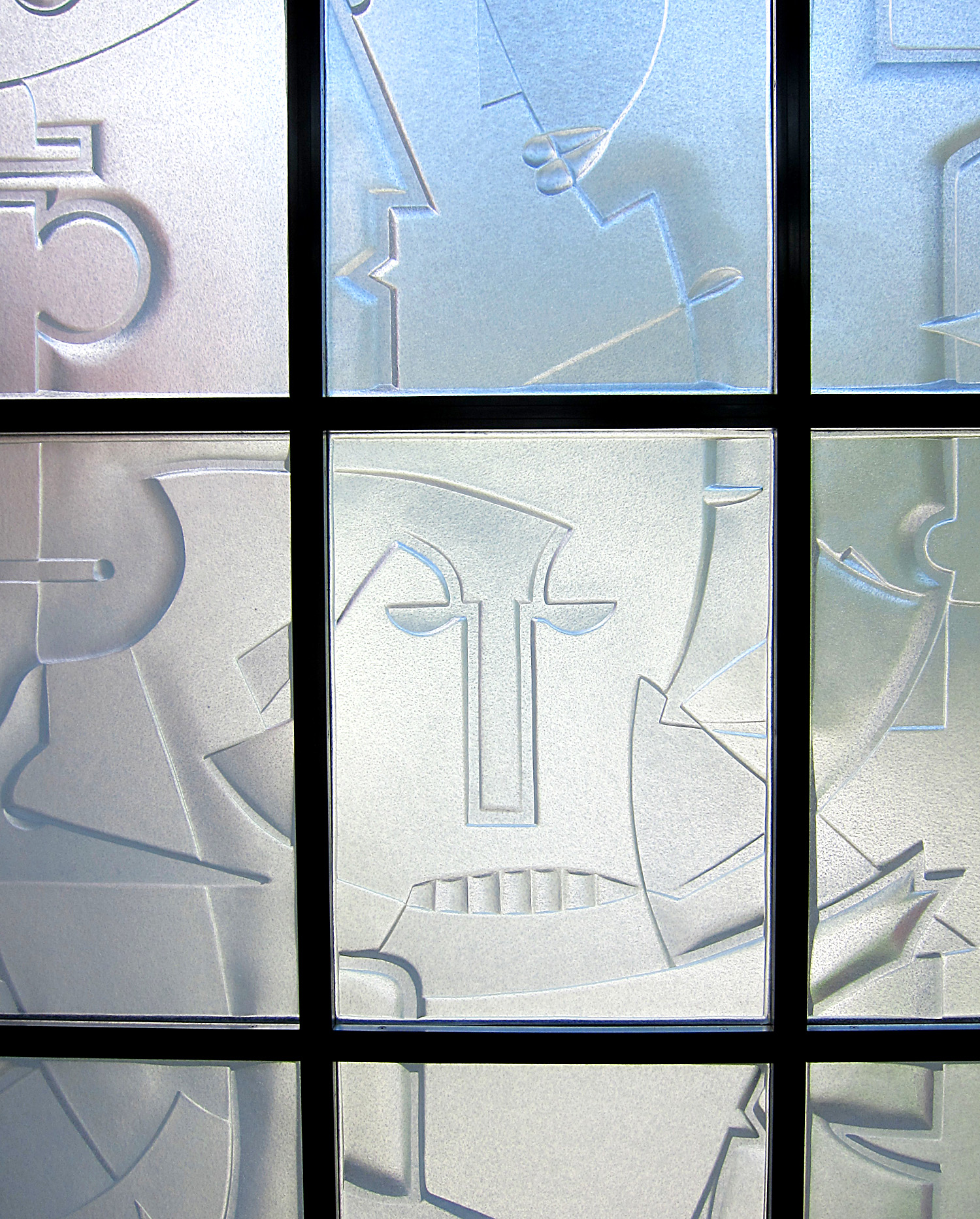"""Neighbors   2012. Cast glass, stainless steel. 120 x 84""""  Private residence, Hingham, MA"""