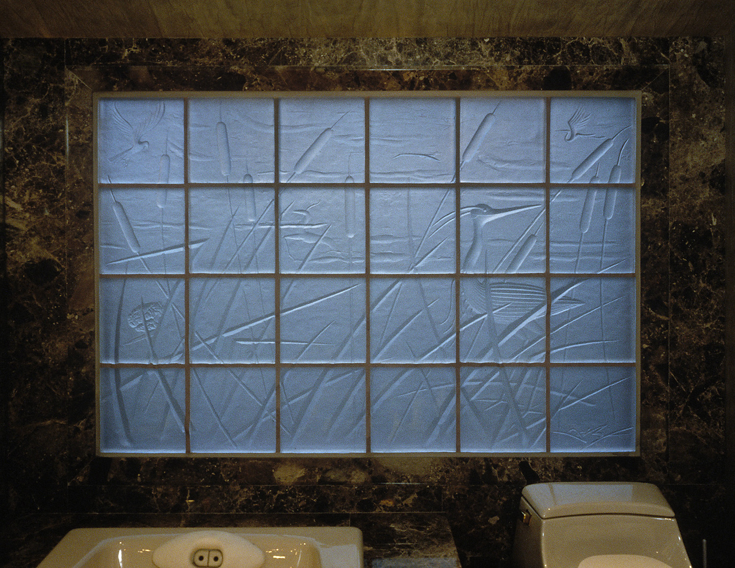 """Idyll   1997. Cast glass, stainless steel. 48 x 72"""" Private residence, Columbus, OH"""