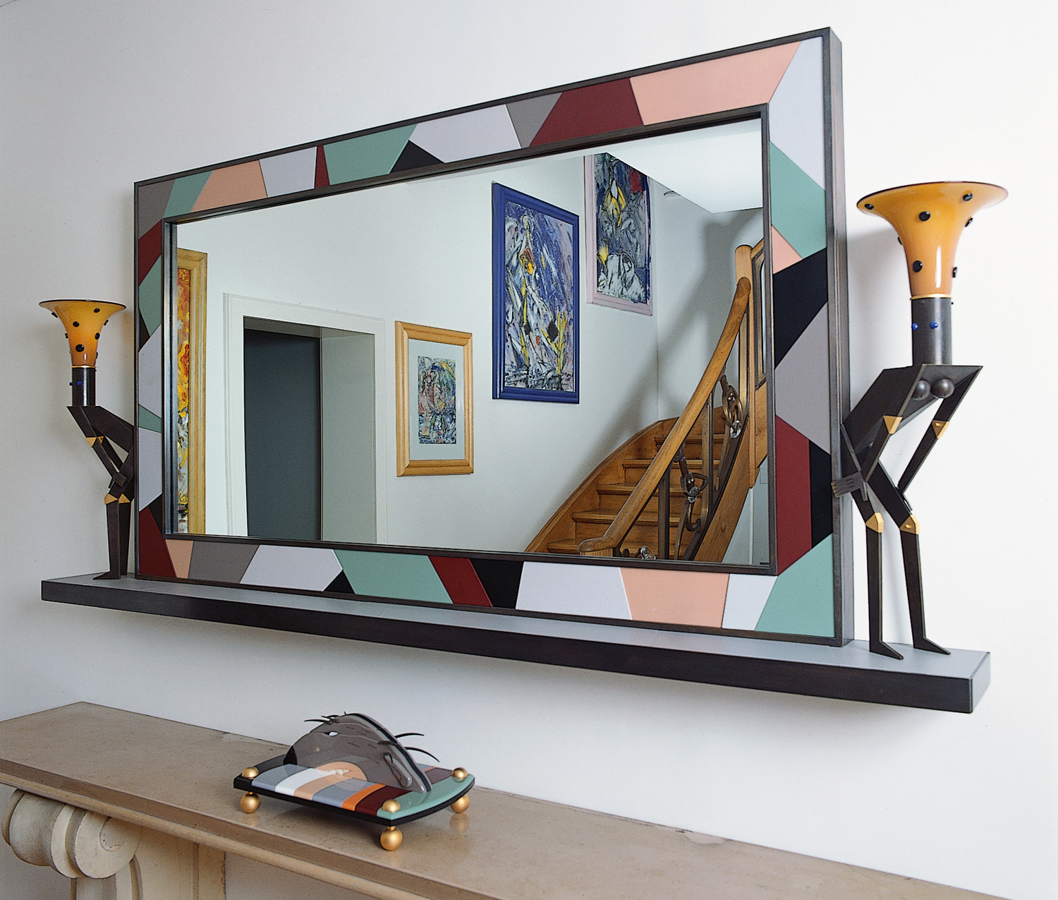 """Mirror and Shelf with Two Nude Lamps   (above)1993.Vitrolite and blown glass,steel, gold plated and patinated bronze. 40 x 84 x 11½""""     Sloth   (below)1990. Vitrolite and plate glass,nickel and gold plated brass, anodized aluminum. 12 x 215 x 10"""" Private residence, Zurich, Switzerland."""