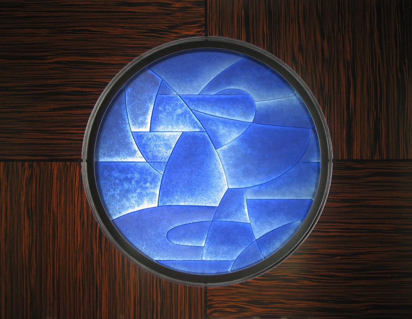 "Ocean    2007. Cast glass, aluminum. 50 x 50"" Private residence, Palm Beach, FL"
