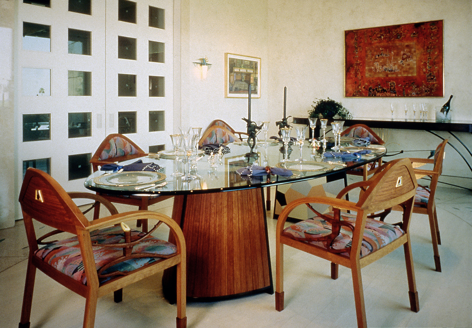 Residential Dining Room 1995. Bronze, plate glass, Vitrolite glass, slumped glass, cherry and bubinga woods. Private residence, Beverly Hills, CA