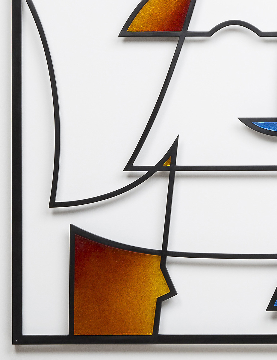 "Inquiring   2016. Cast glass, aluminum. 38½ x 85 x 2"" Residential tower lobby, New York, NY"