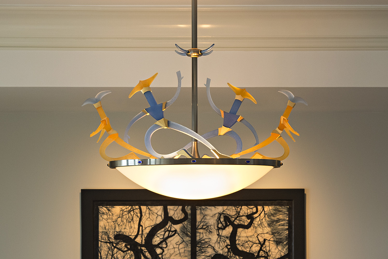 """Light Scene   2017. Blown glass, nickel and gold-plated bronze, brass, aluminum, steel, pate de verre and lampworked glass. 27½ x 43 x 16½""""   see more"""