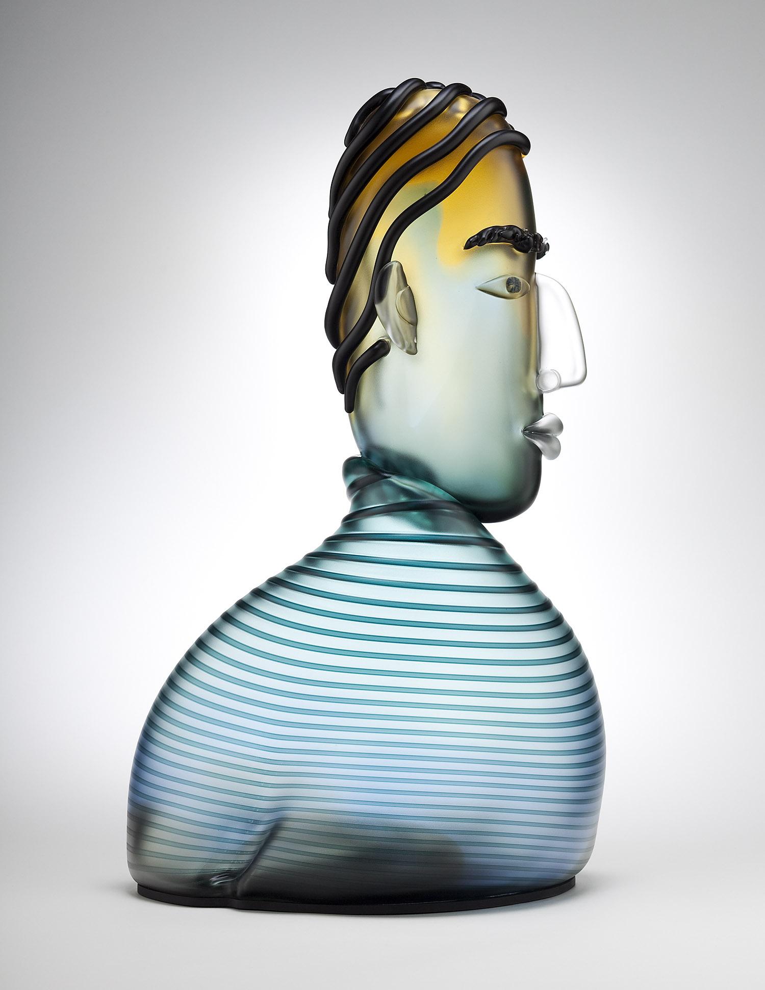 "Quizzical   2004. Blown glass. 25 x 14 x 10"""