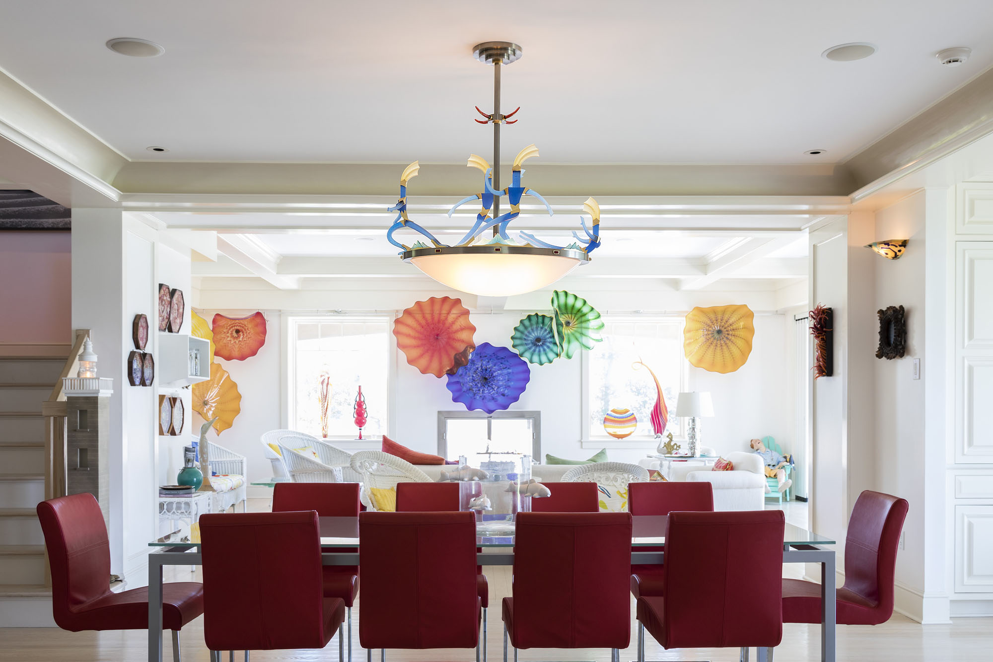 """Gift of Light   2017. Blown glass, nickel and gold-plated bronze, brass, aluminum, steel, pate de verre and lampworked glass. 53 x 39½ x 17½"""" Private residence, Westerly, RI"""