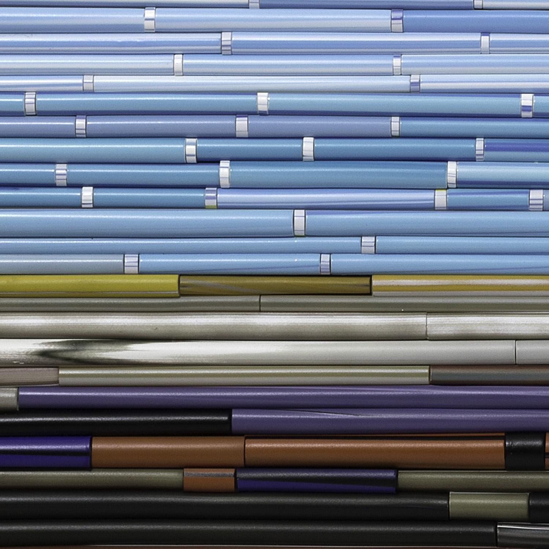 "Cupids   2017. Glass cane, anodized aluminum. 37 x 48 x 2"""