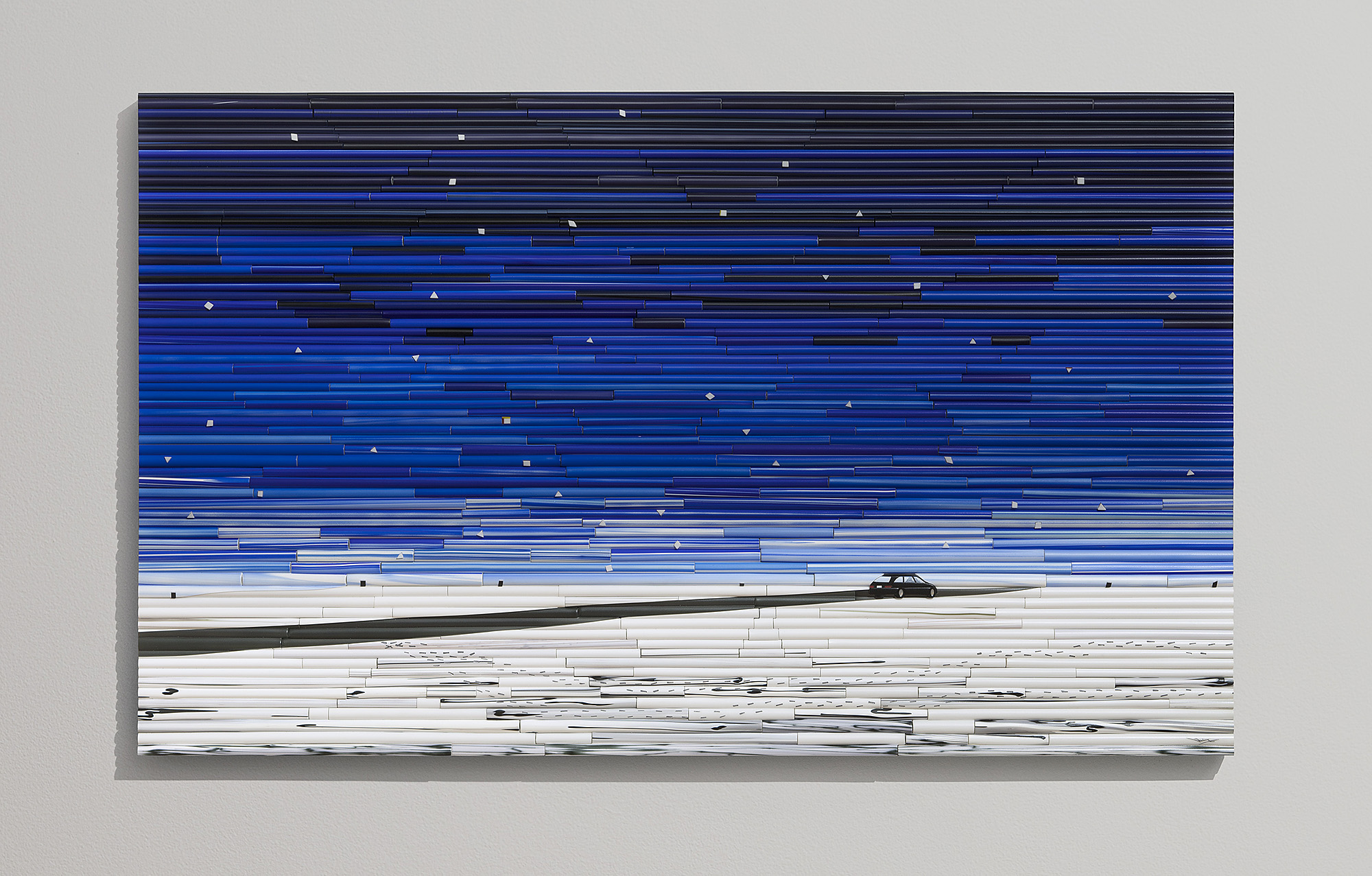 "Guiding Star   2017. Glass cane, anodized aluminum. 28 x 48 x 2"""
