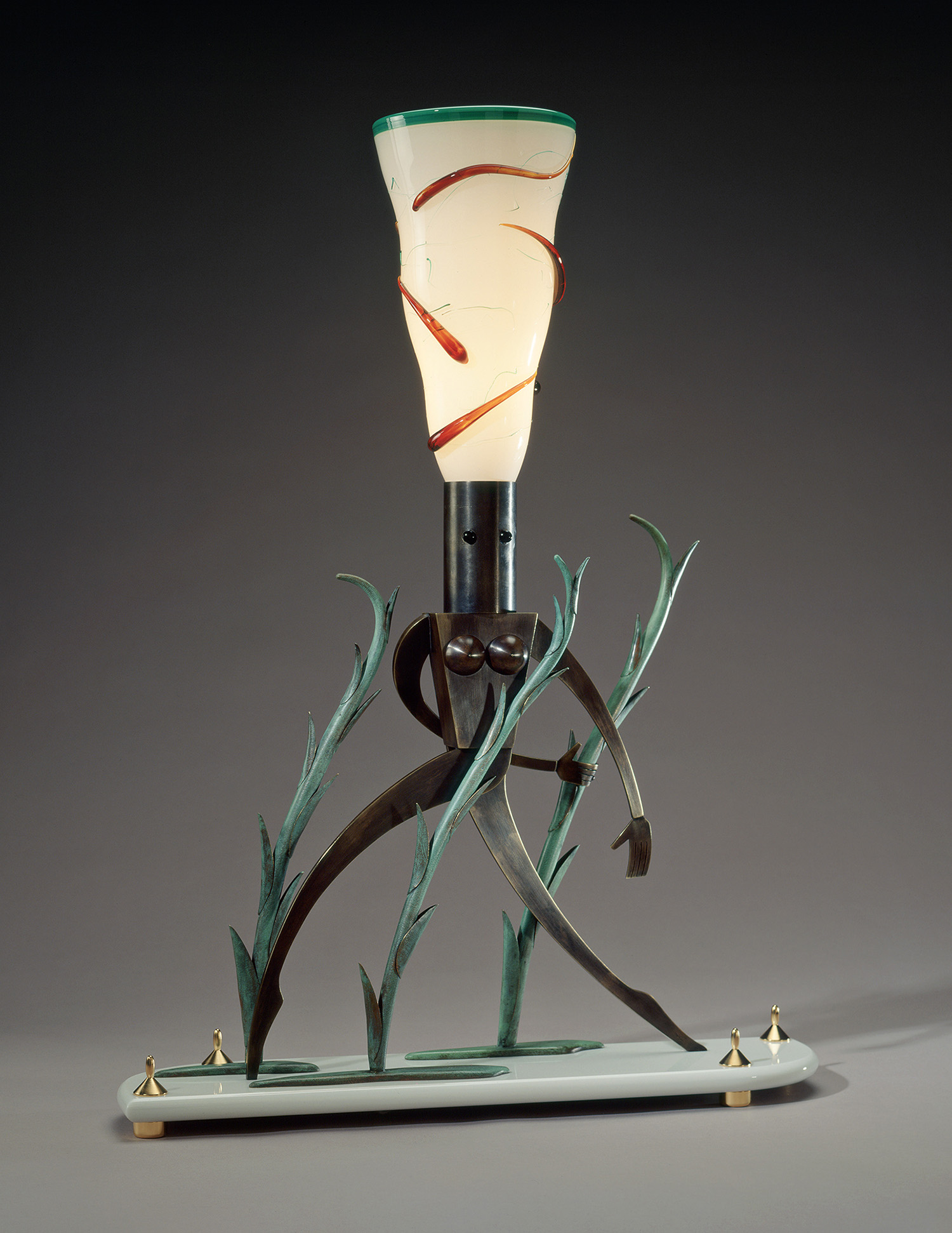 """Nude Walking in Tall Grass   1993. Blown glass, bronze, gold-plated bronze, Vitrolite and lampworked glass. 30½ x 22 x 6"""""""