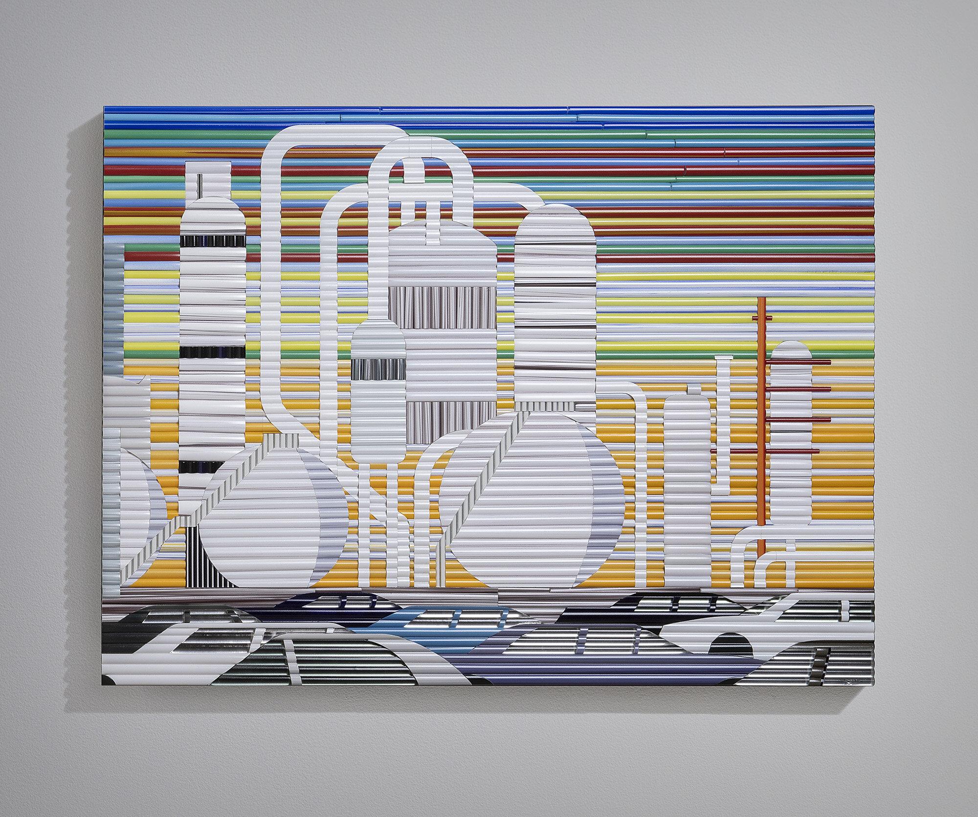 "Elizabeth   2019. Glass cane, anodized aluminum. 21 x 28 x 2"""