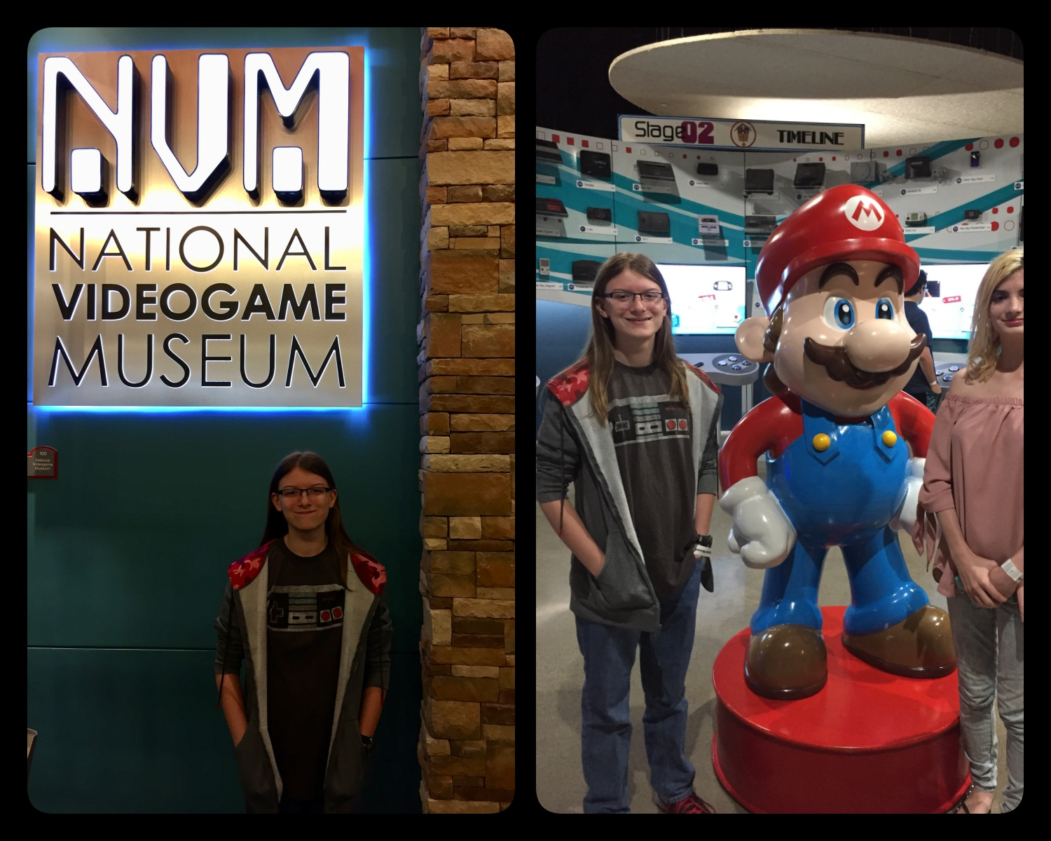 Allie at the National Video Game Museum in Frisco, Texas on her fourteenth birthday. Super cool place!